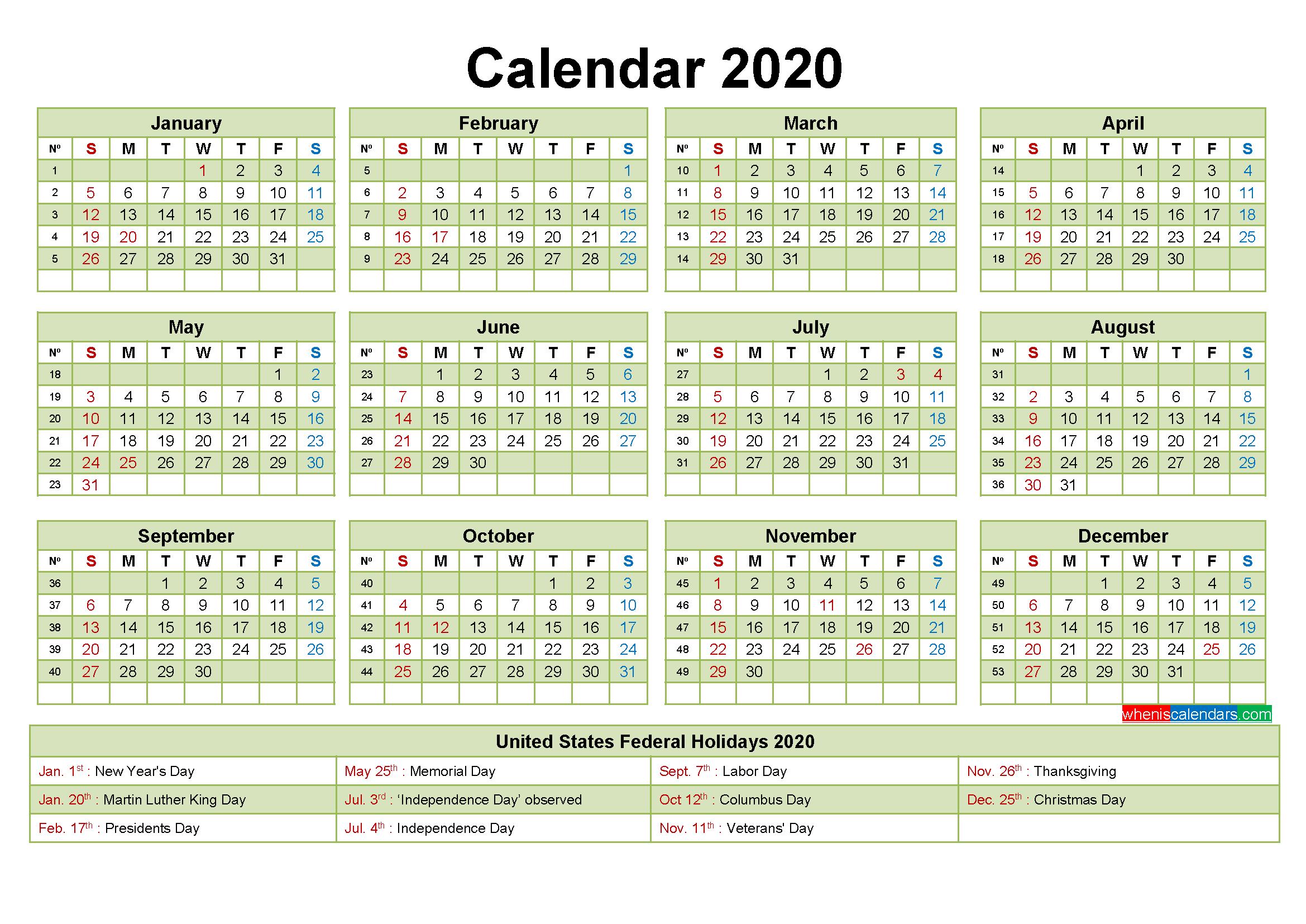 Printable Editable Calendar 2020 Word