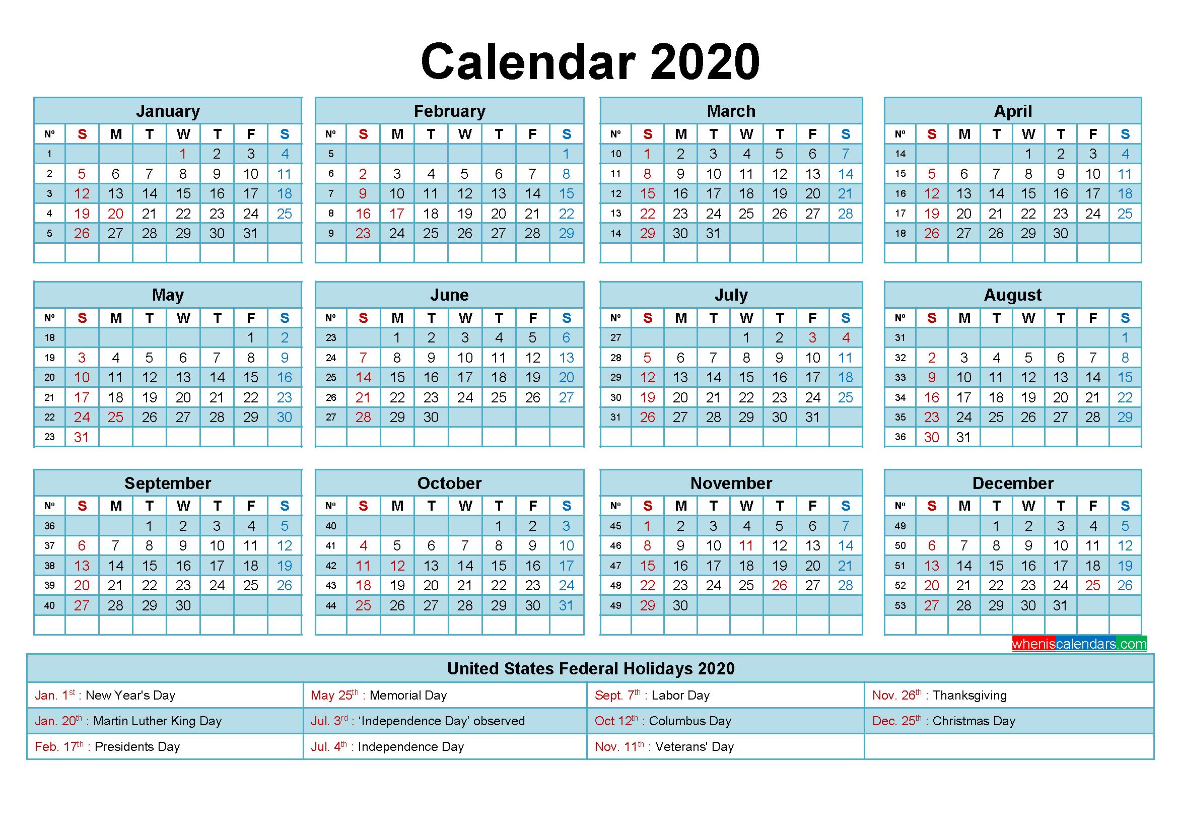 Editable Calendar Template 2020 Word