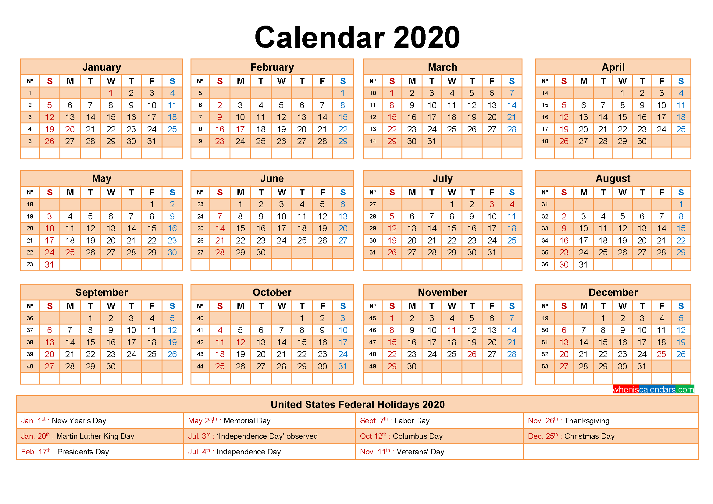 Free Printable 2020 Calendar with Holidays as Word, PDF