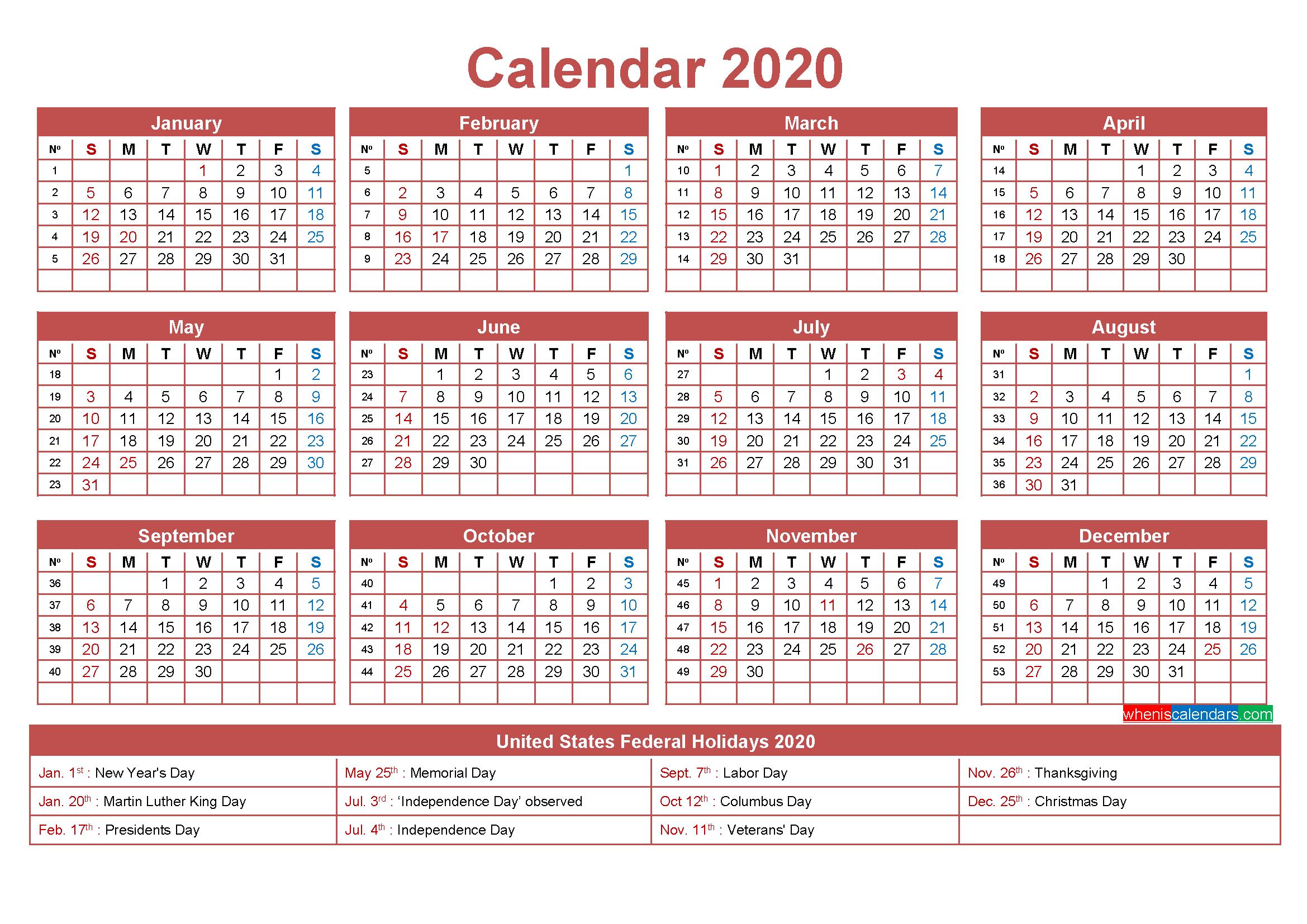 Editable Printable Calendar 2020