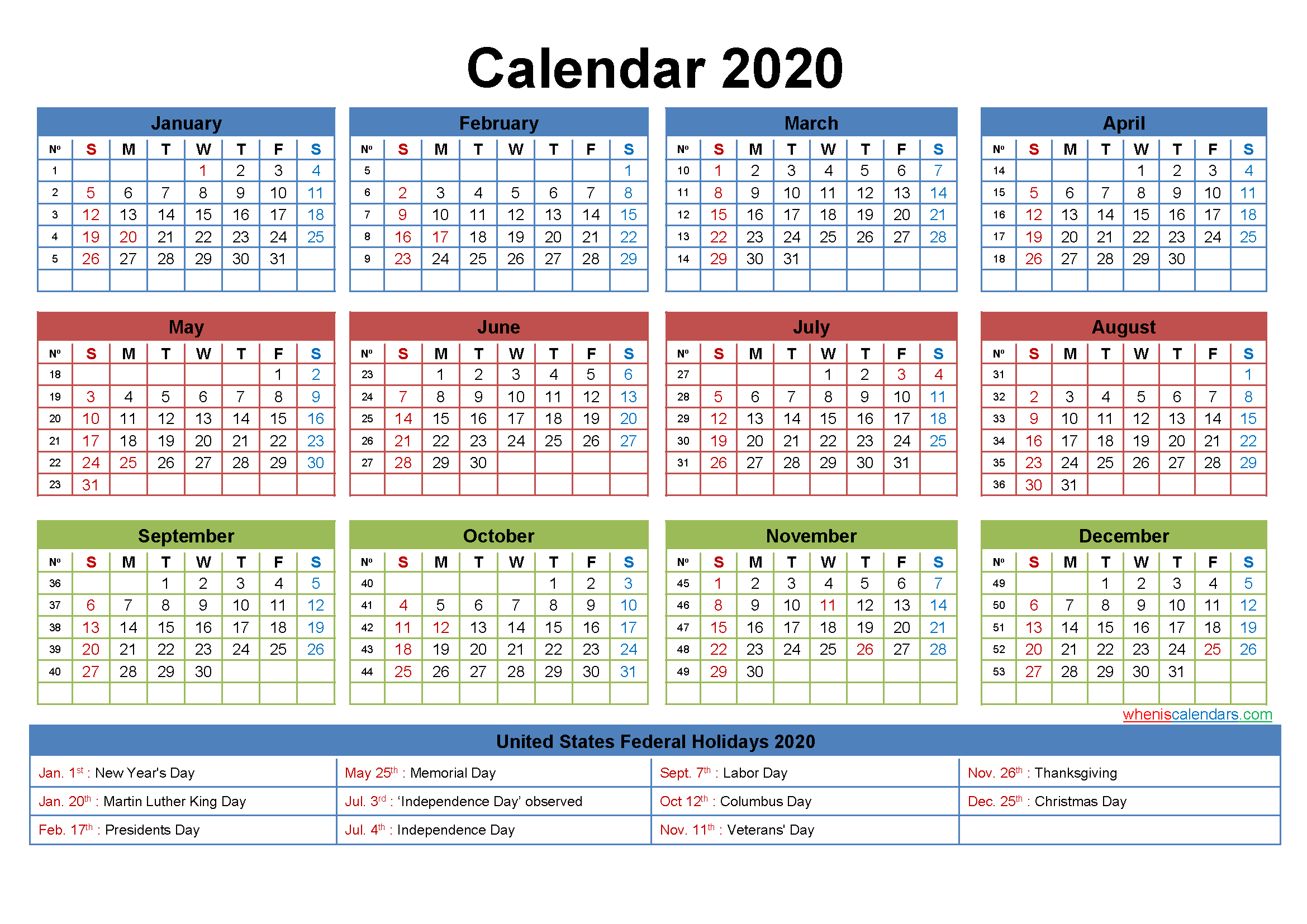 Printable Yearly 2020 Calendar with Holidays Word, PDF