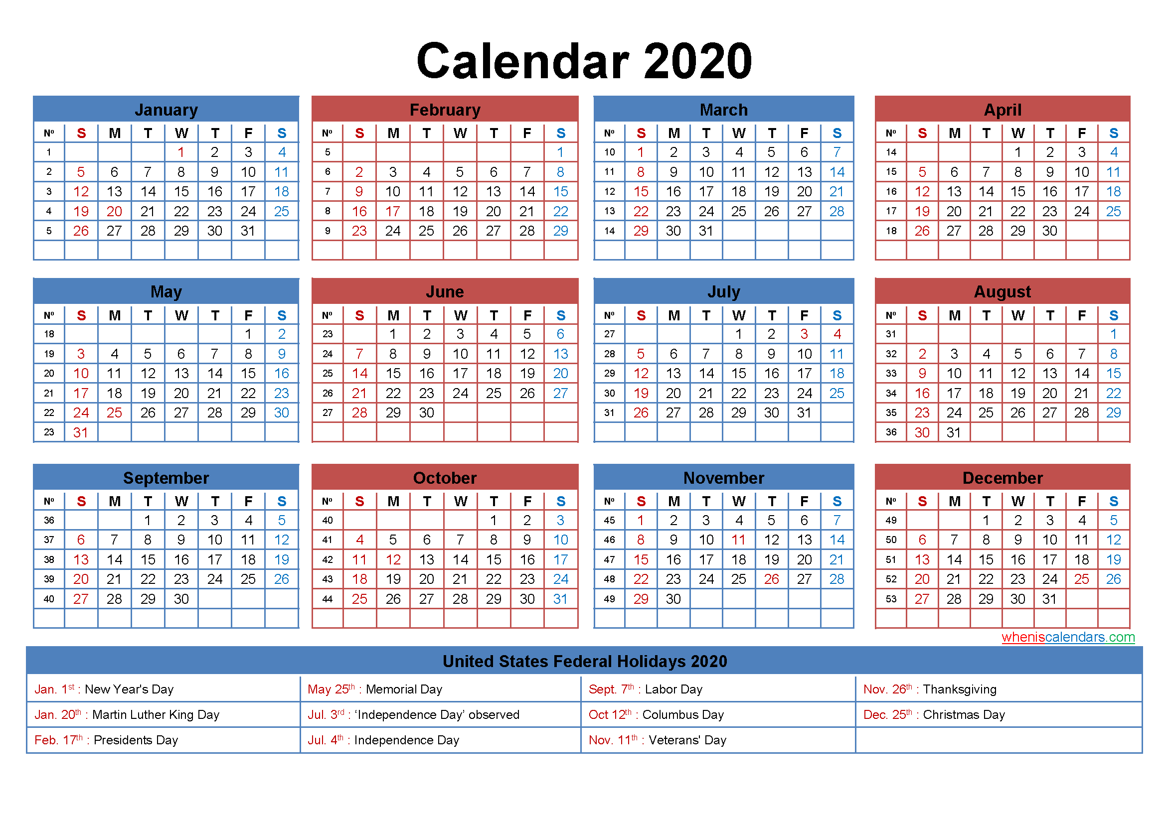 22x17 Desk Calendar 2020 with Holidays