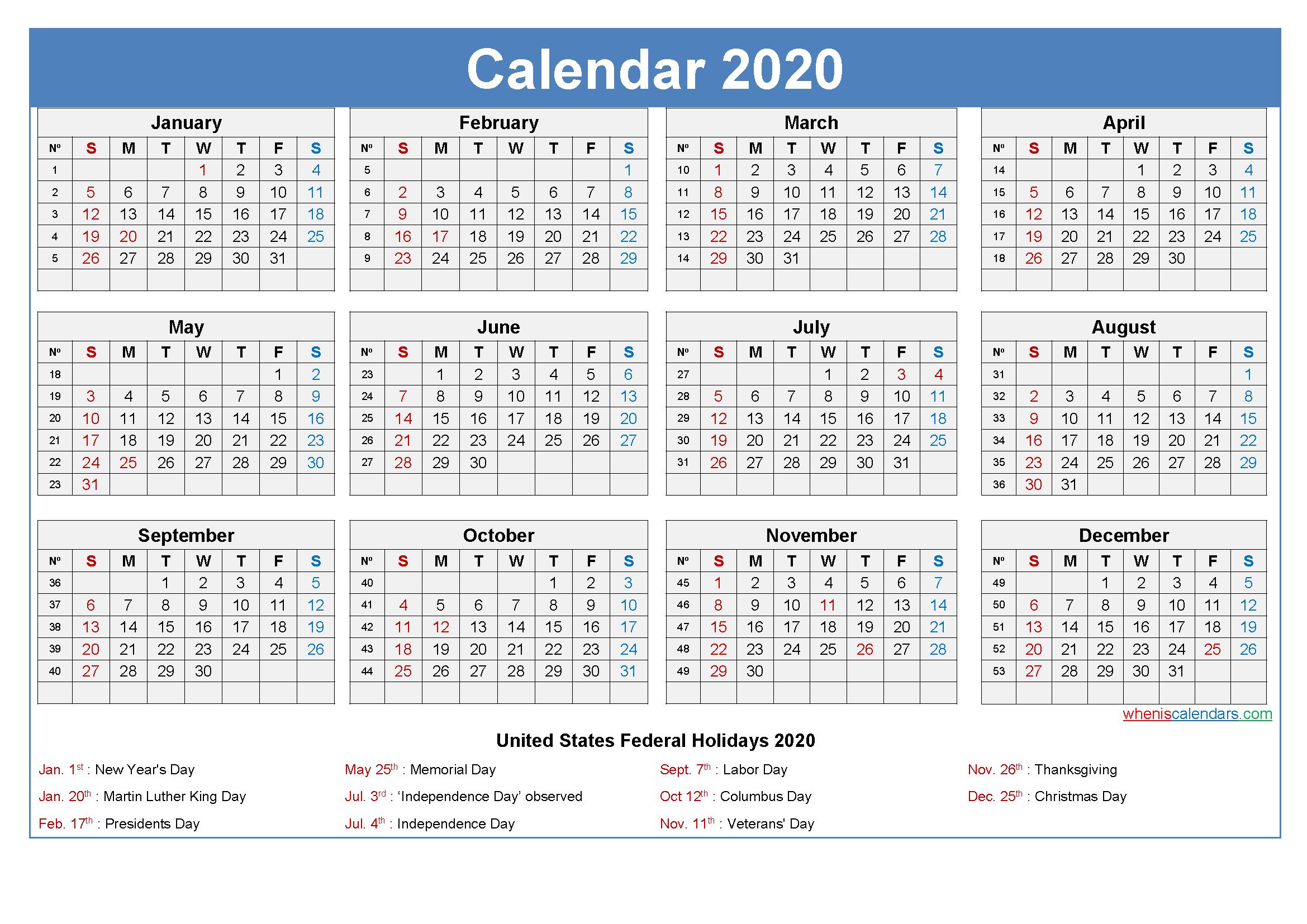 Editable Printable Calendar 2020 Word