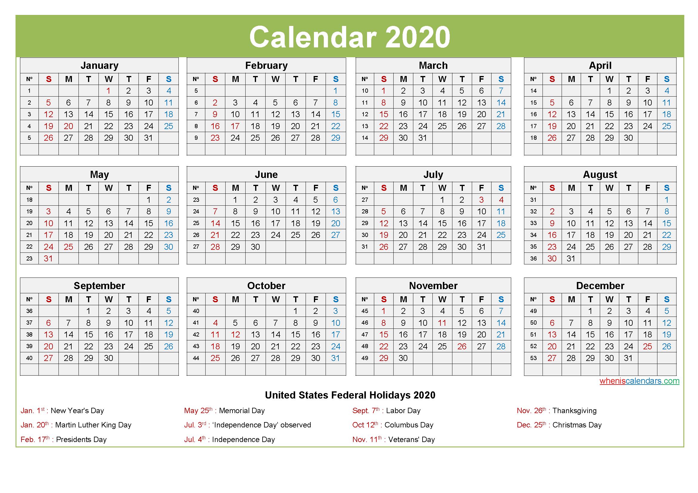 Computer Desktop Calendar 2020 with Holidays