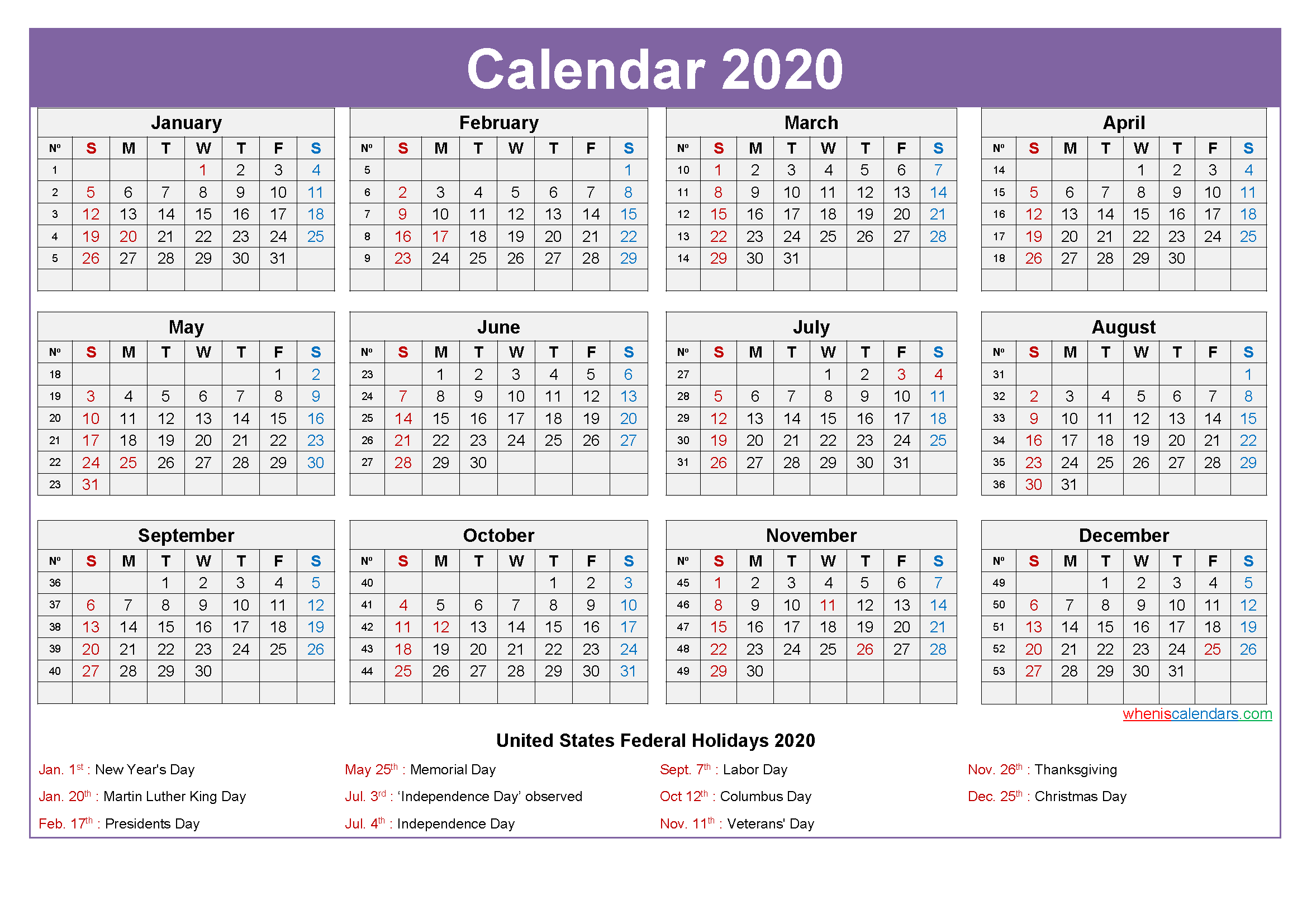 Mini Desk Calendar 2020 Free Printable