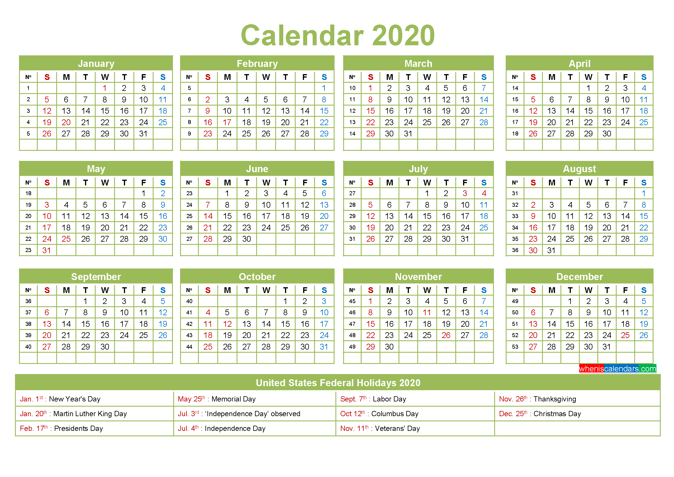 Small Desk Calendar 2020 with Holidays