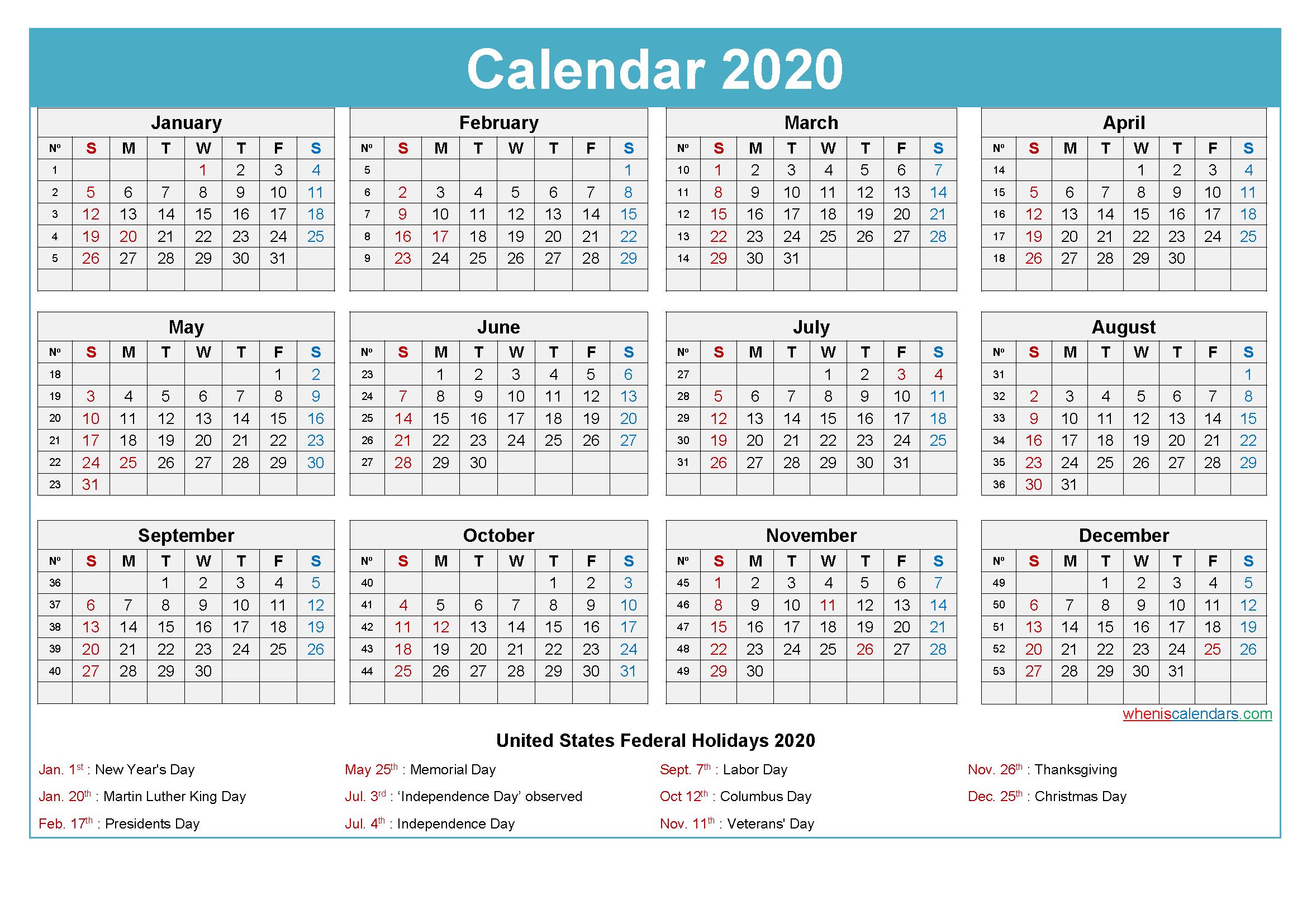 Maxine Desk Calendar 2020 with Holidays Printable