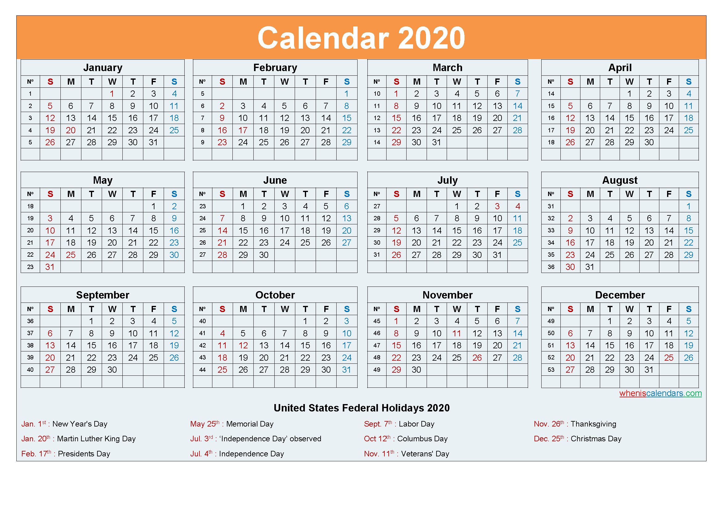 2020 Calendar with Holidays Template Word, PDF