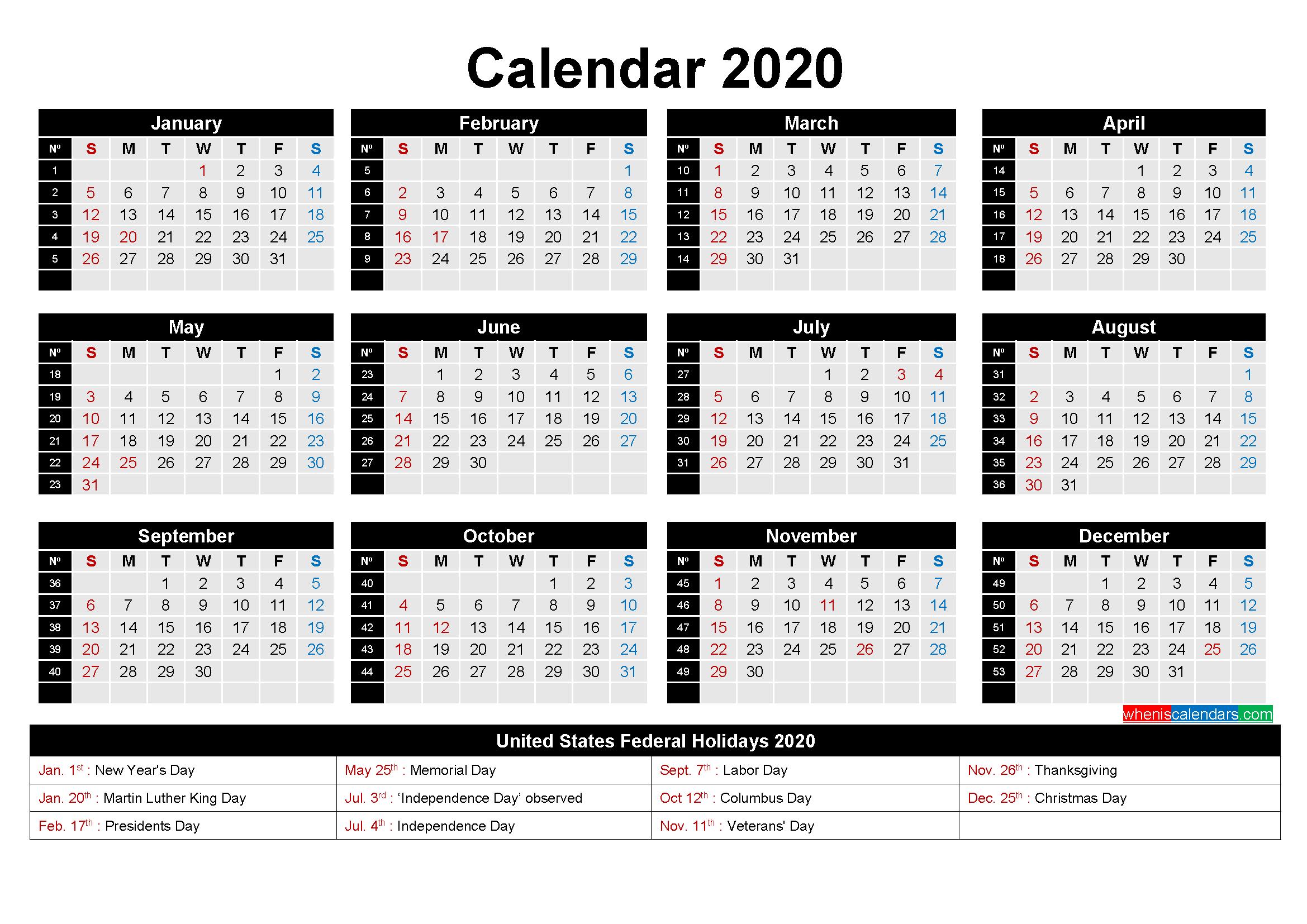 Free Printable 2020 Calendar with Holidays as Word, PDF ...