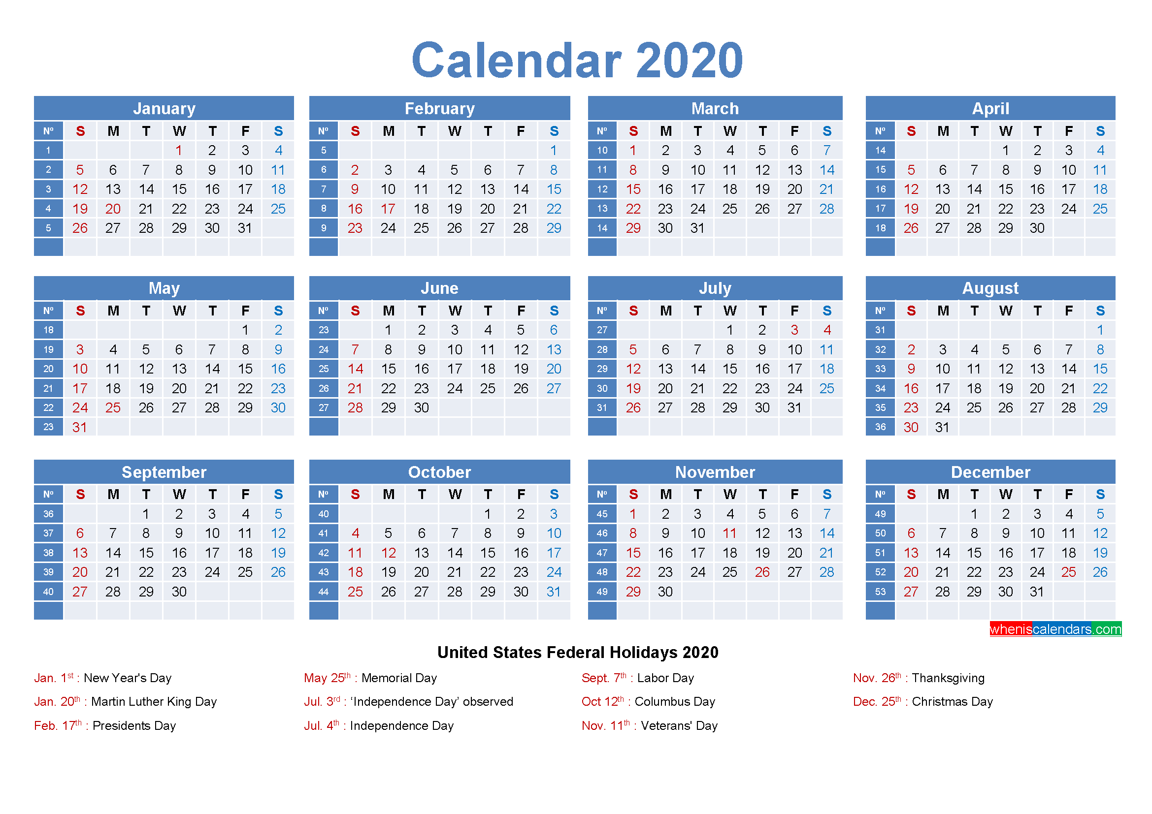 Free Printable Yearly 2020 Calendar with Holidays as Word ...