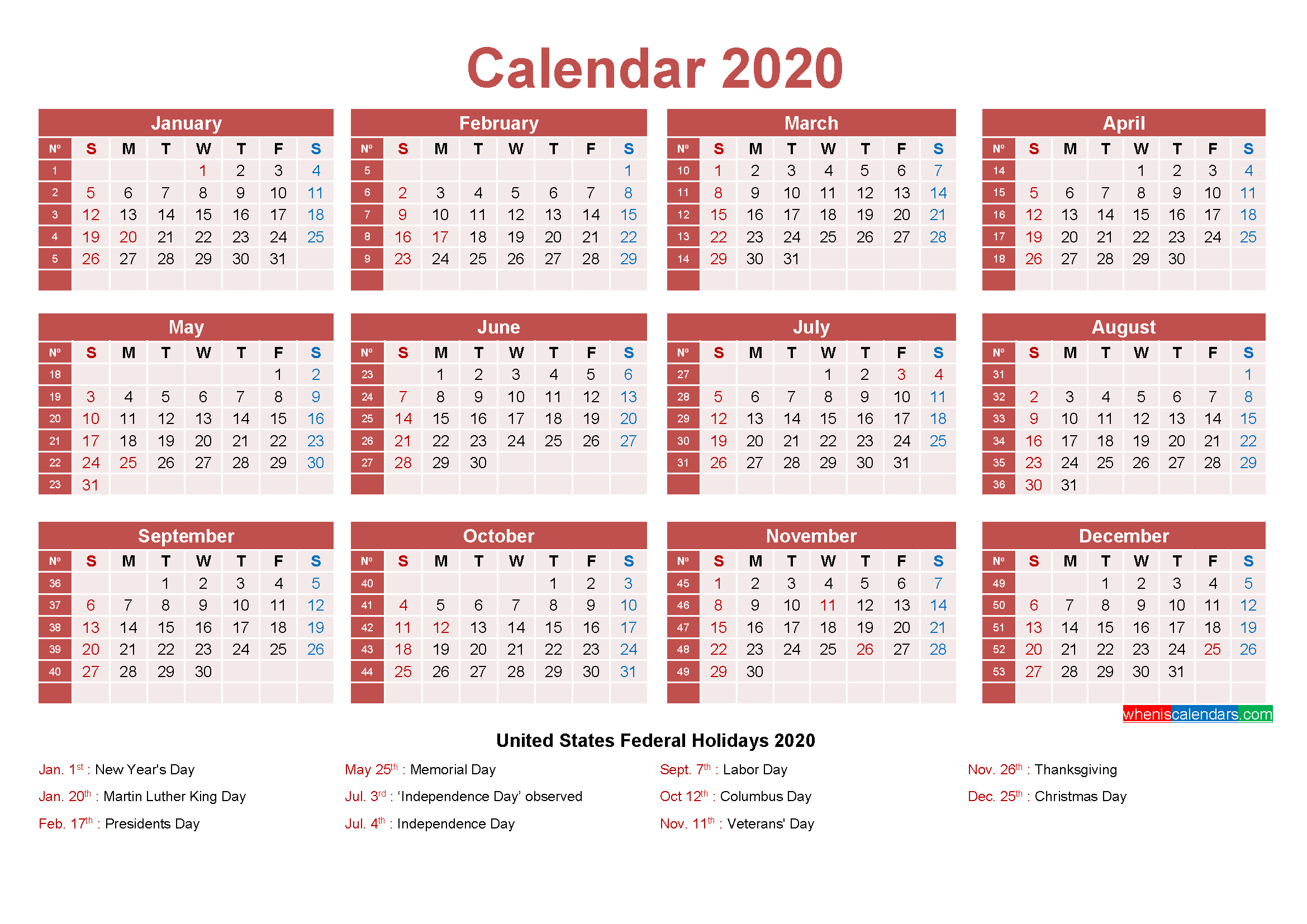 Small Desk Calendar 2020 with Holidays