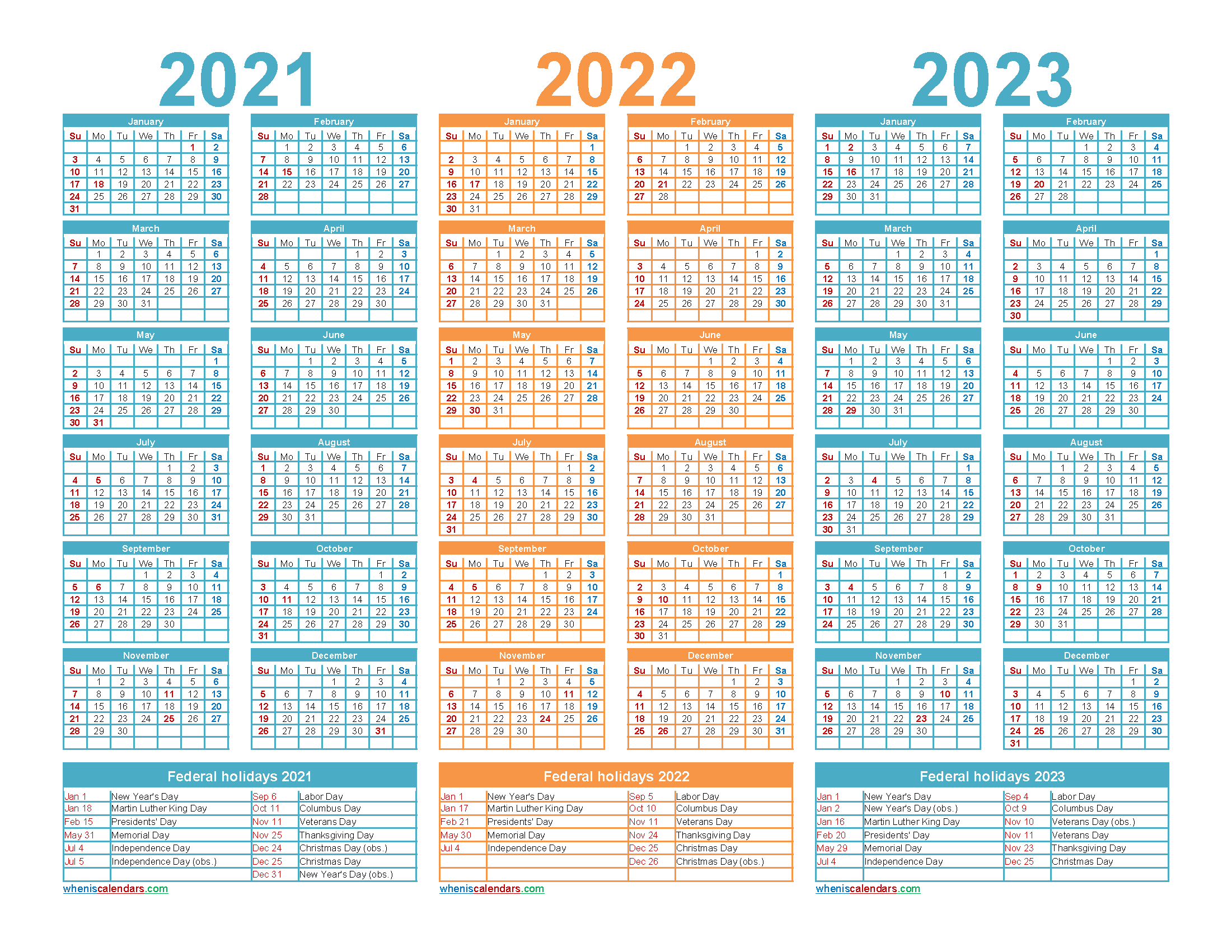 Printable 2021 2022 and 2023 Calendar with Holidays Word, PDF