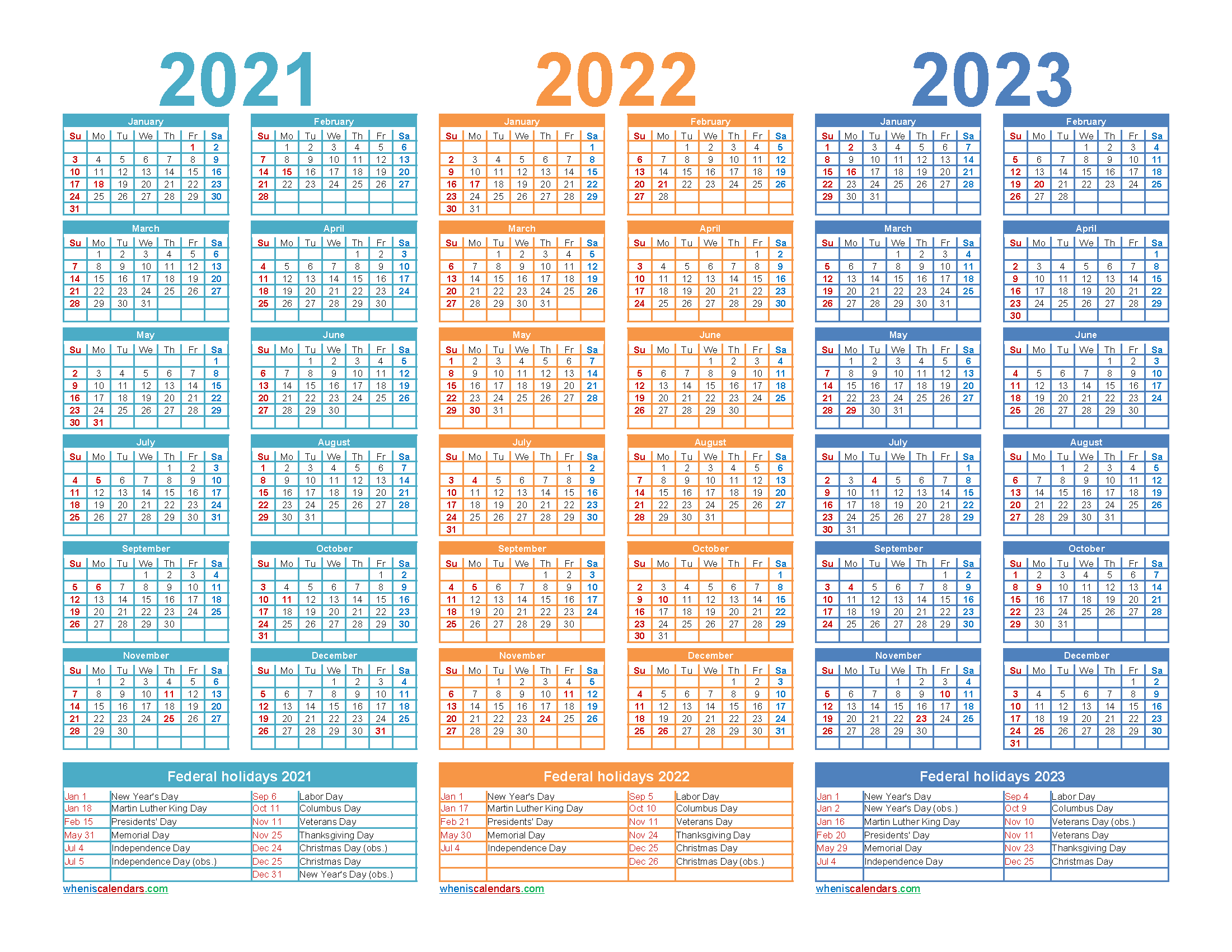Three Year 2021 to 2023 Calendar Printable Word, PDF