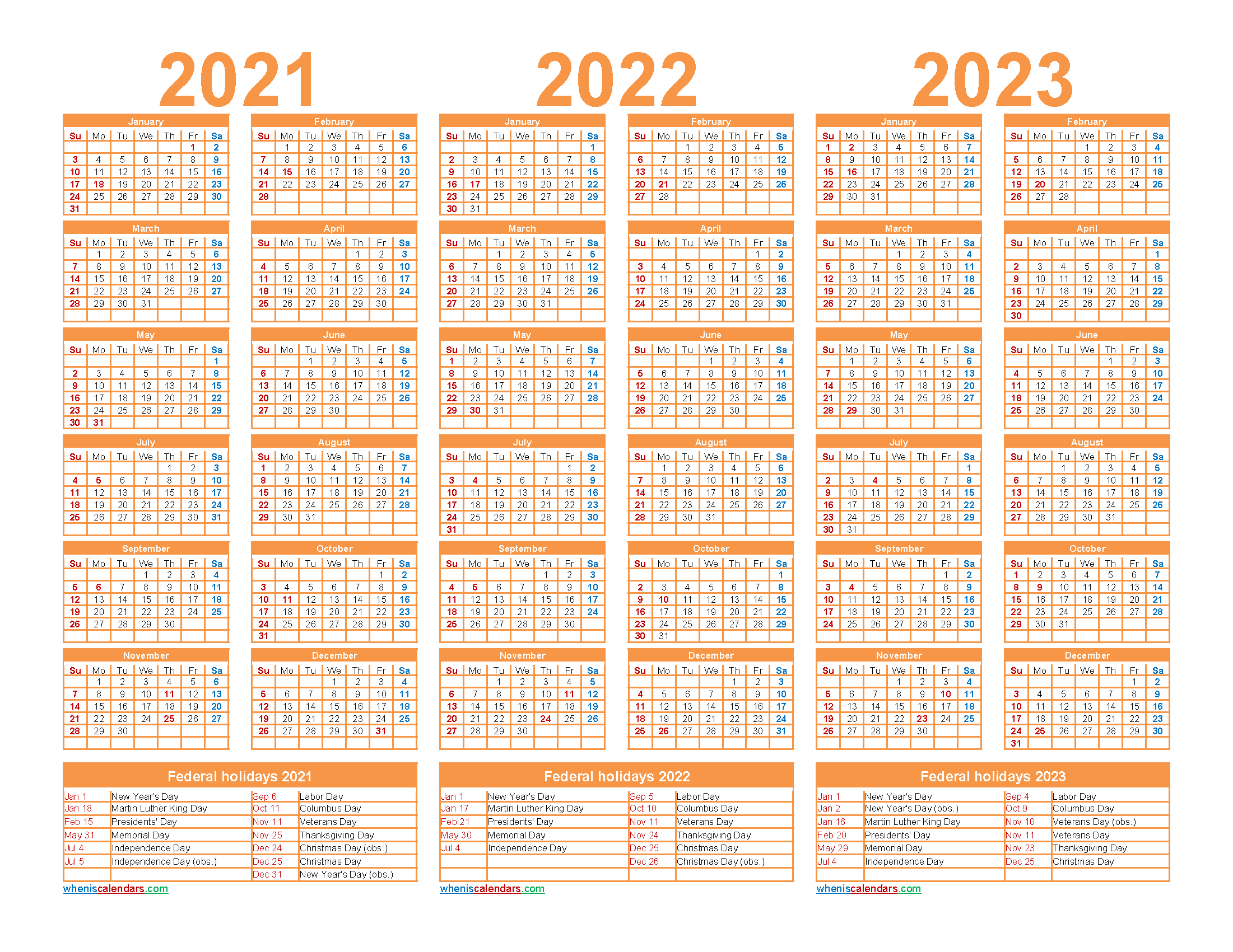 Free Printable 2021 to 2023 Calendar with Holidays - Free ...