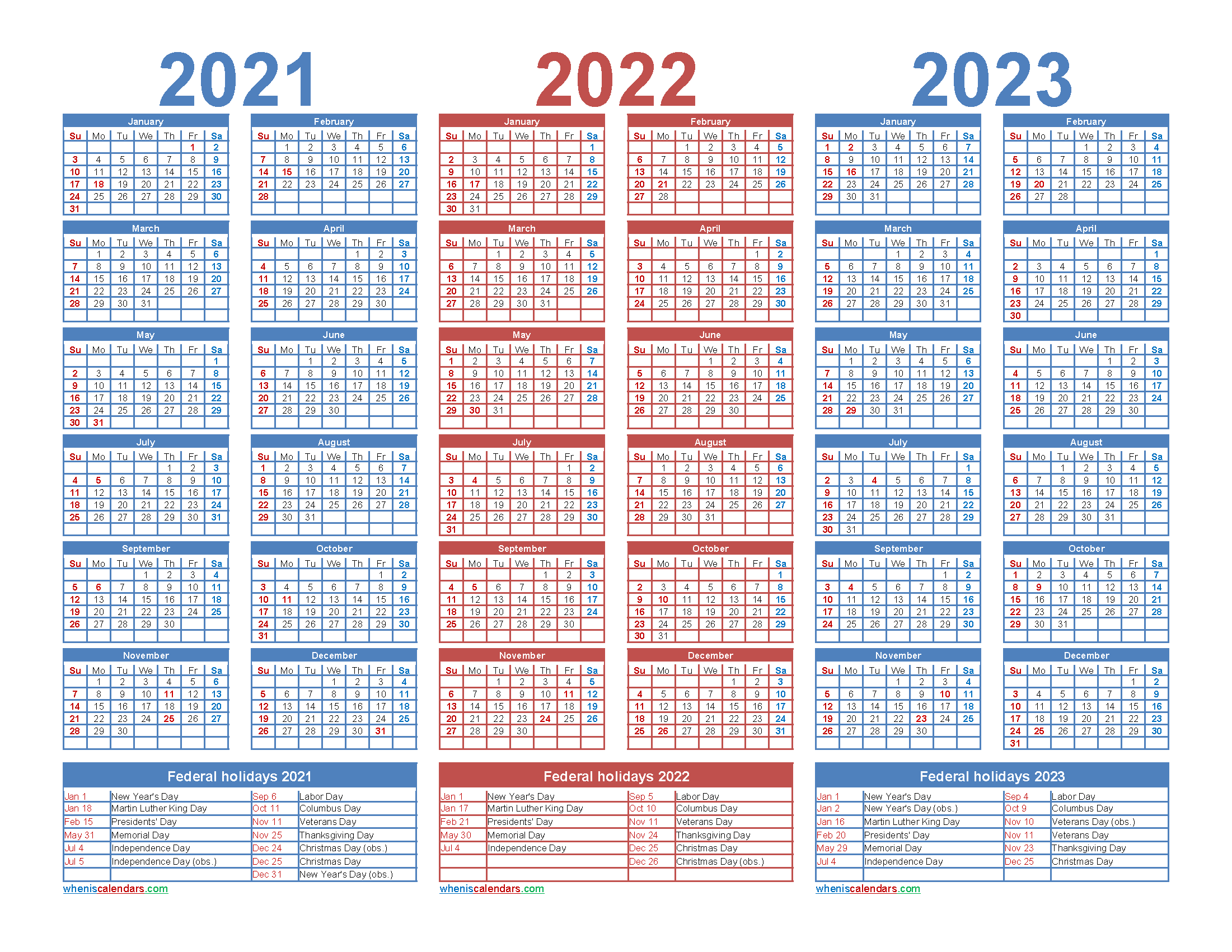 Three Year 2021 to 2023 Calendar Printable Word, PDF ...