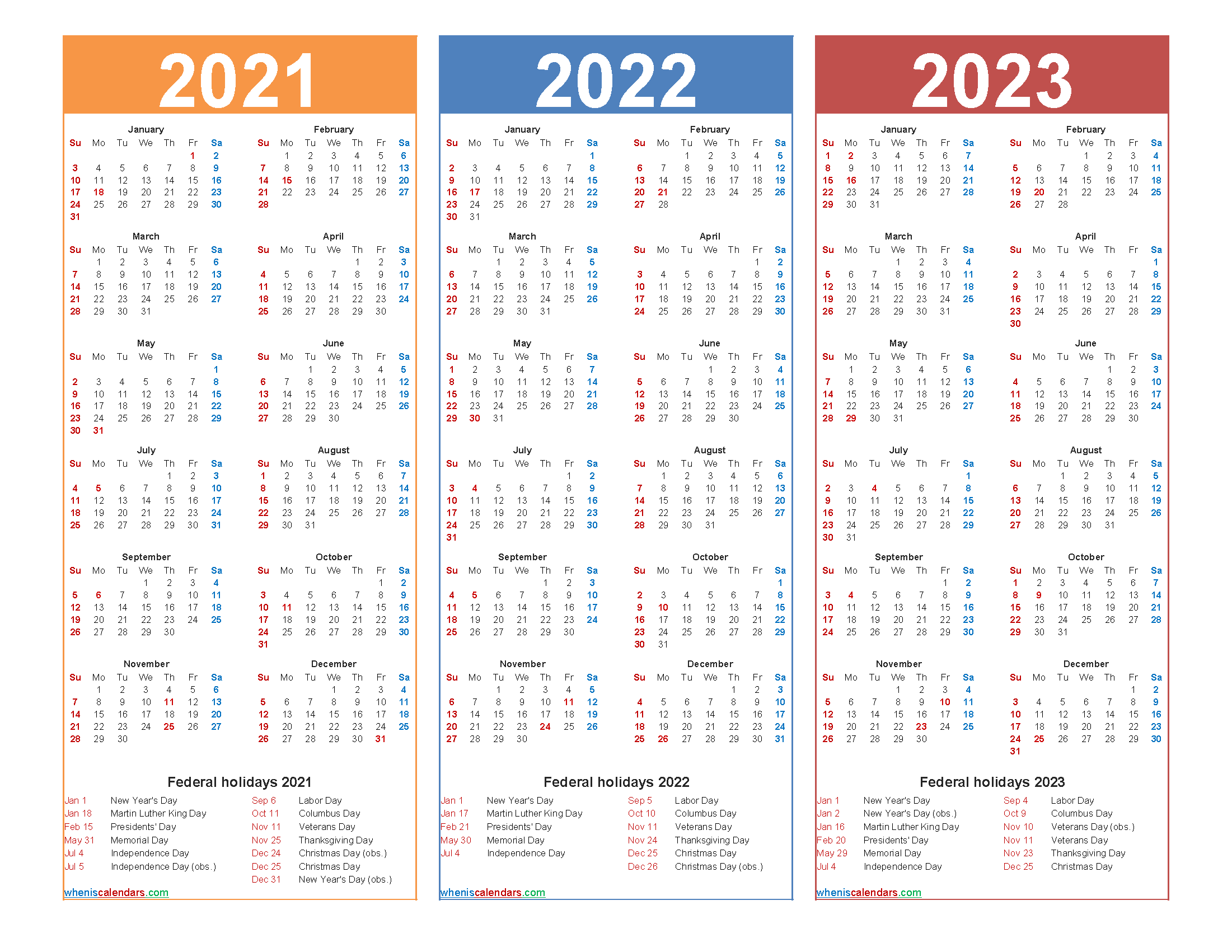 Printable 2021 2022 and 2023 Calendar with Holidays - Free ...