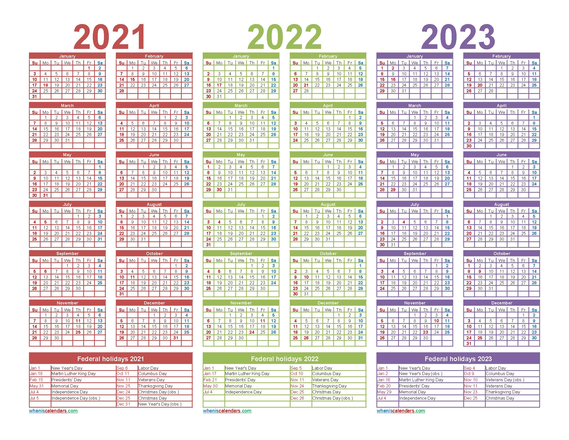 Free Printable 2021 and 2022 and 2023 Calendar Word, PDF