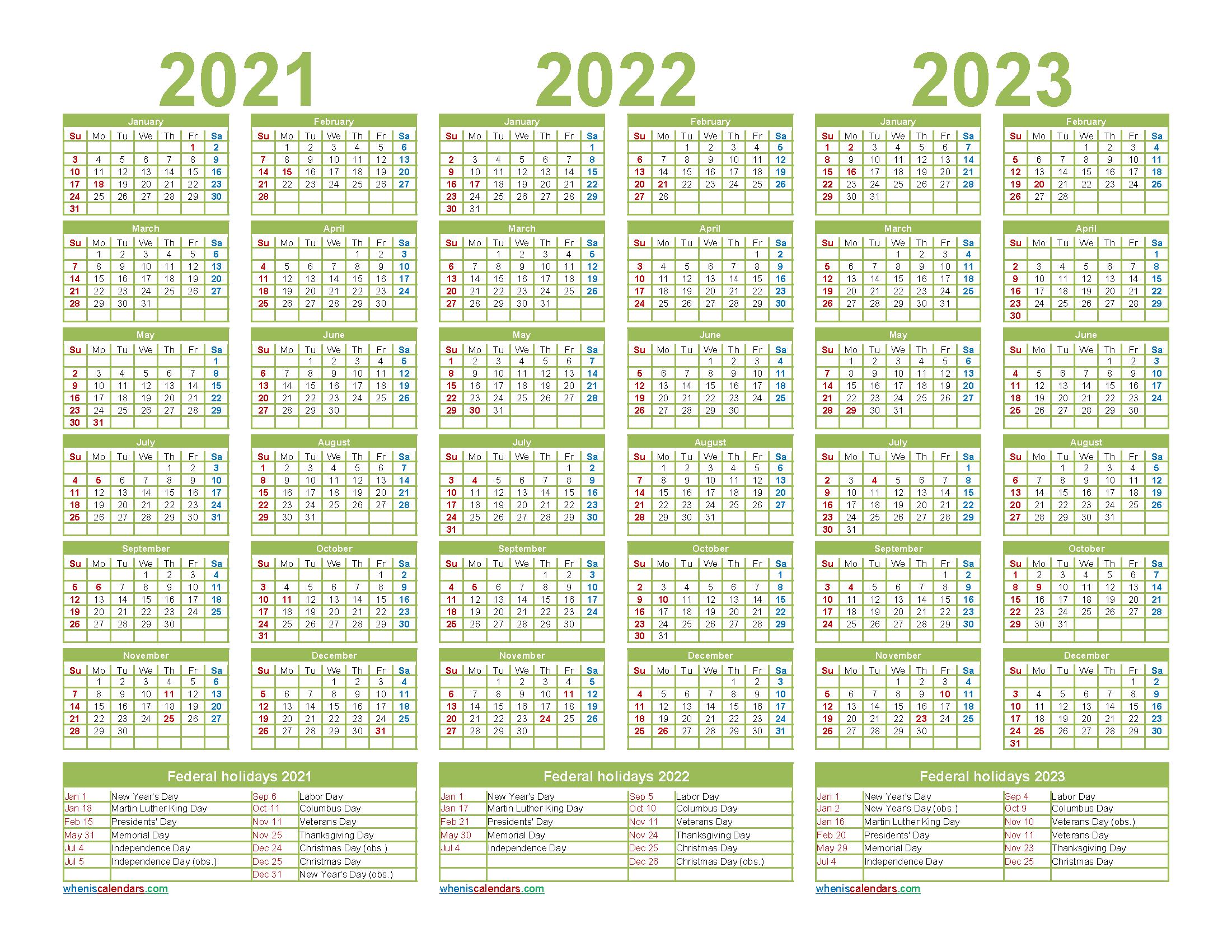 Printable 2021 2022 and 2023 Calendar with Holidays Word, PDF