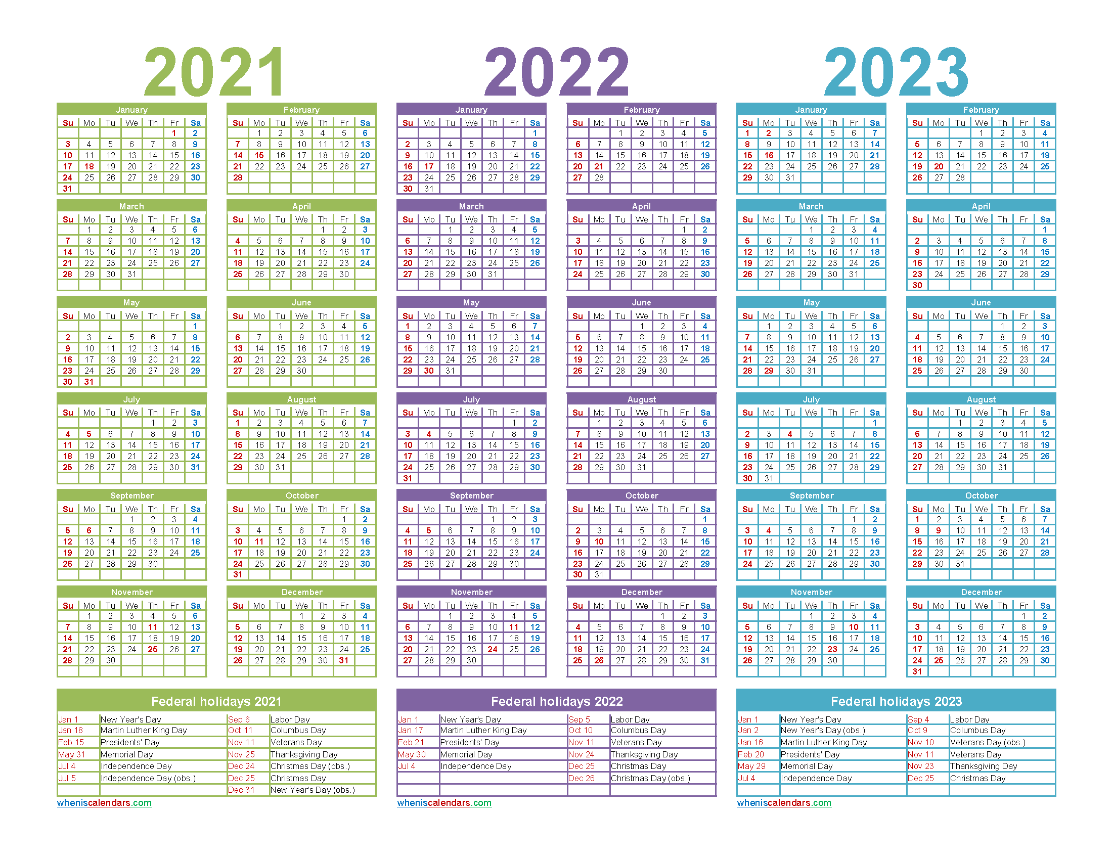 Free Printable 2021 to 2023 Calendar with Holidays