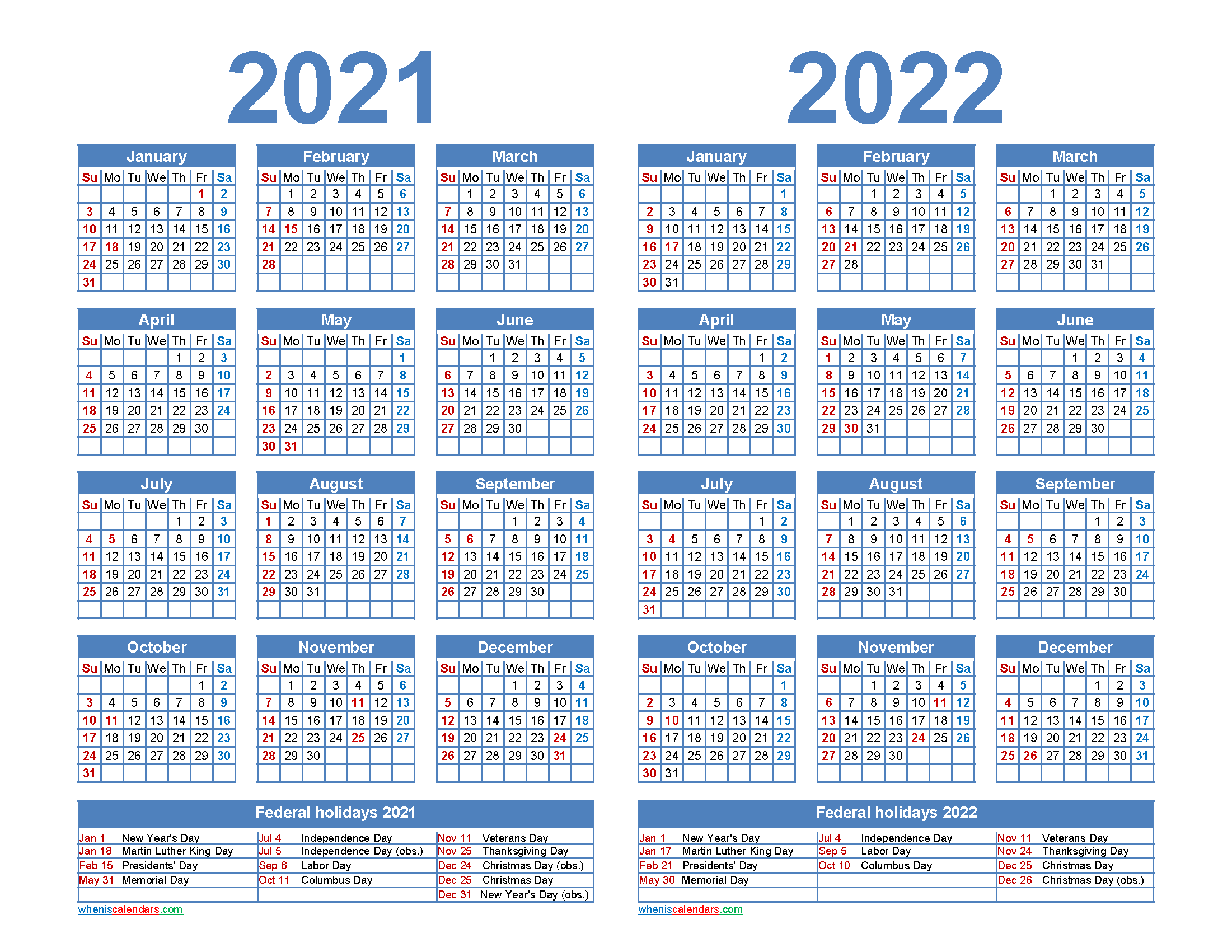 2021 and 2022 Calendar Printable Word, PDF - Free ...