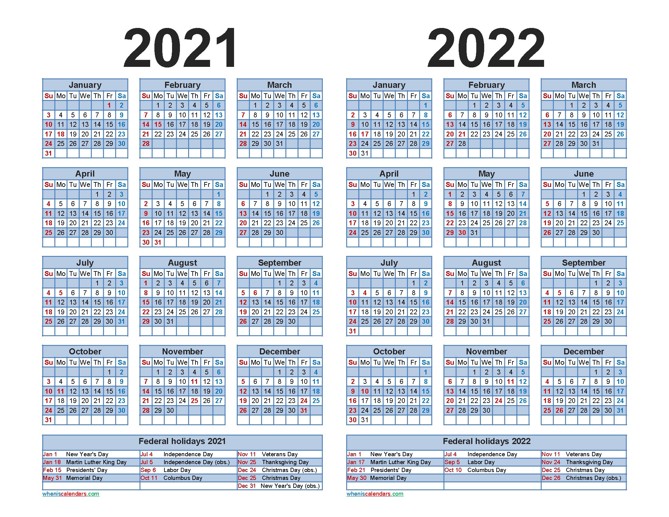 2021 and 2022 Calendar Printable with Holidays Word, PDF