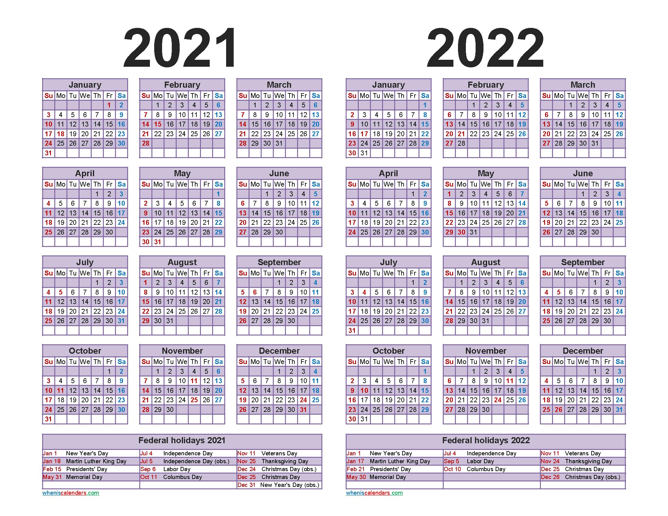 Free 2021 and 2022 Calendar Printable with Holidays
