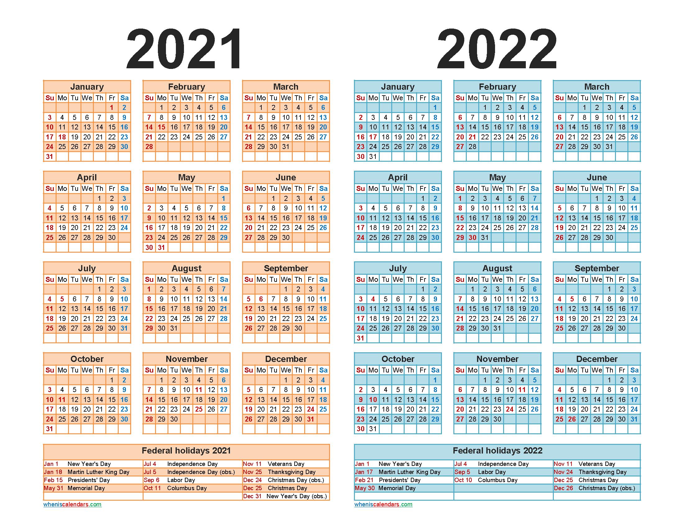 Free 2021 2022 Calendar Printable with Holidays