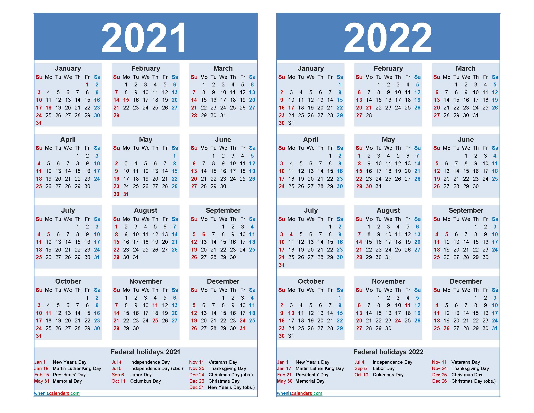 2021 and 2022 Calendar Printable with Holidays - Free ...