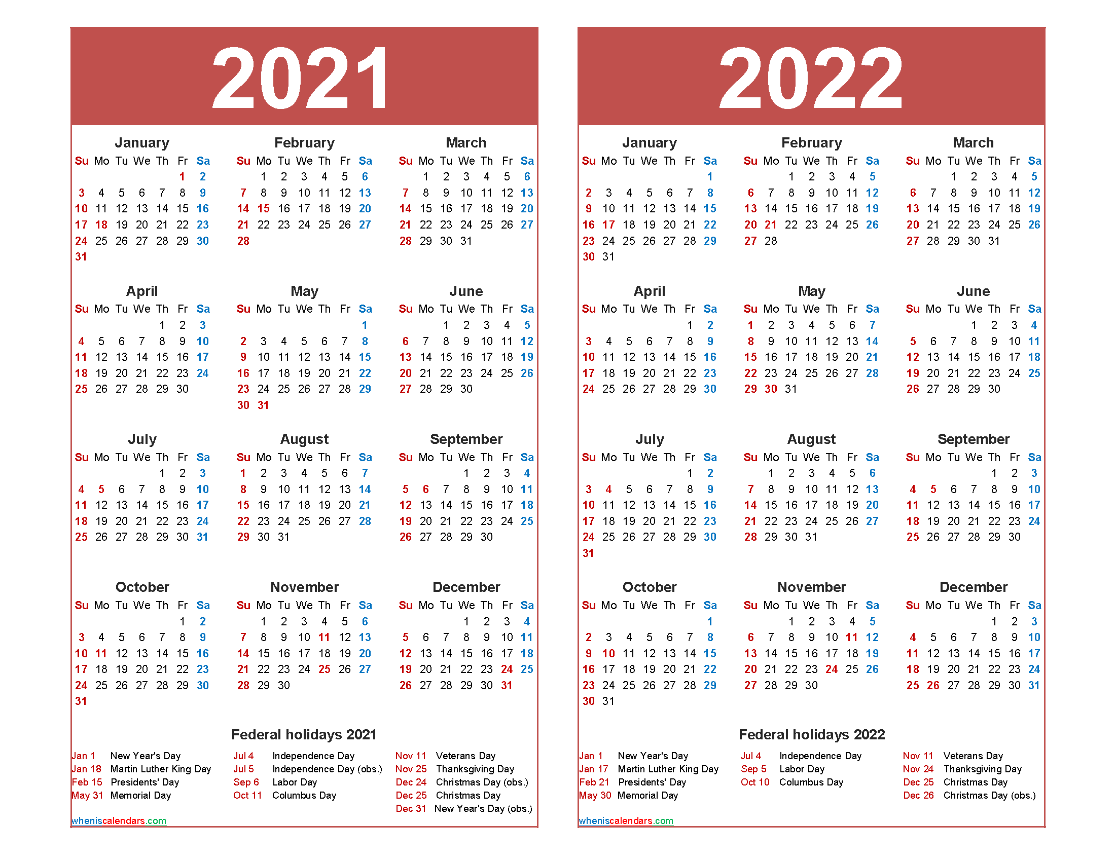 Free 2021 and 2022 Calendar Printable with Holidays - Free ...