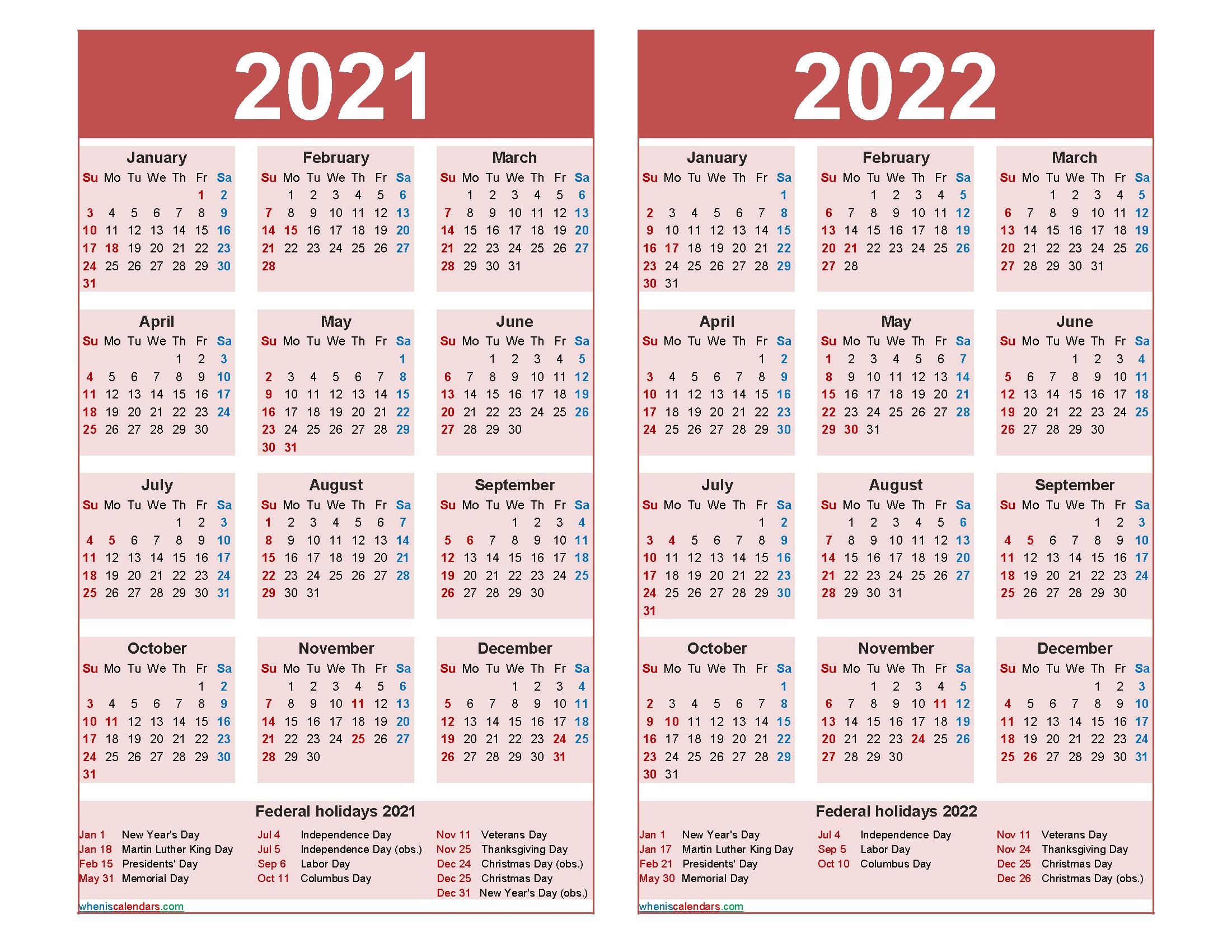 2021 and 2022 Calendar Printable with Holidays Word, PDF ...