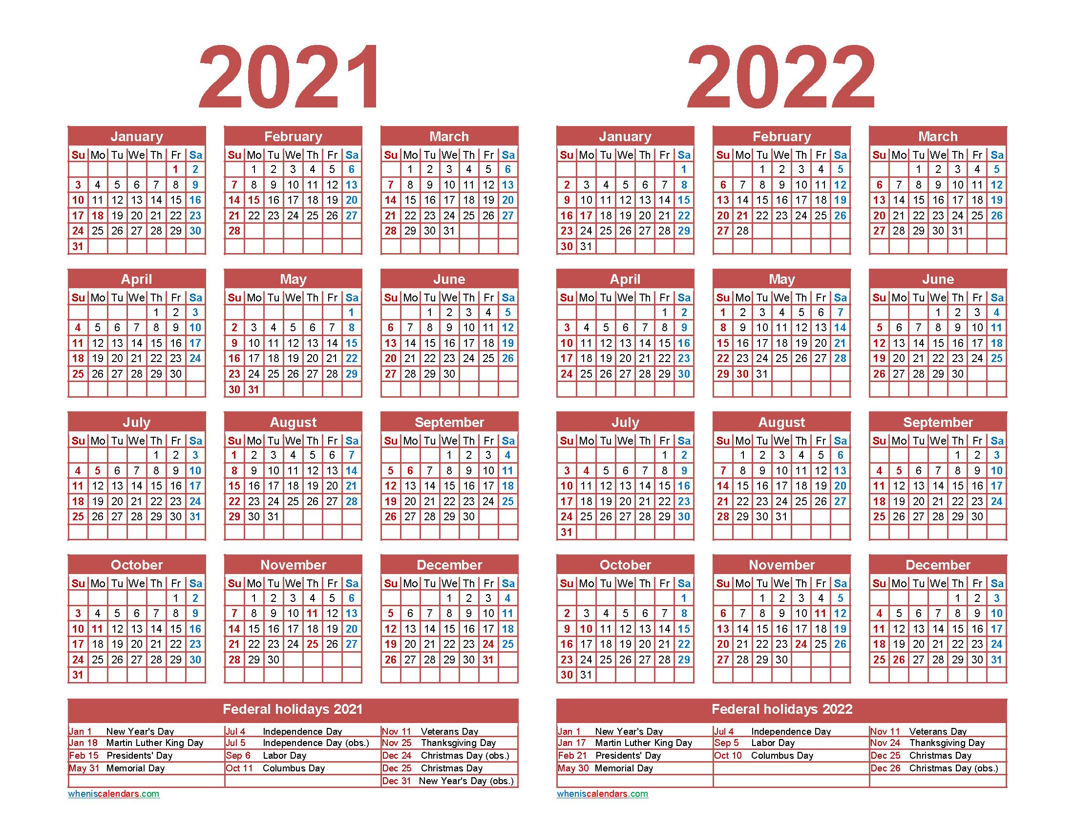 2021 and 2022 Calendar Printable with Holidays | Free ...