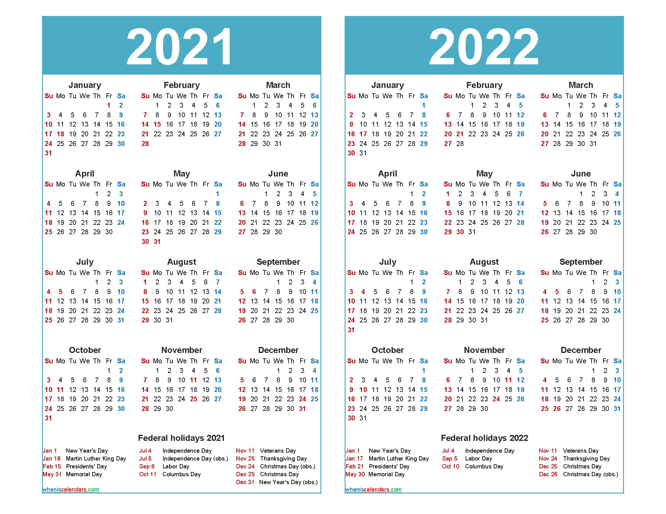 2021 and 2022 Calendar Printable with Holidays