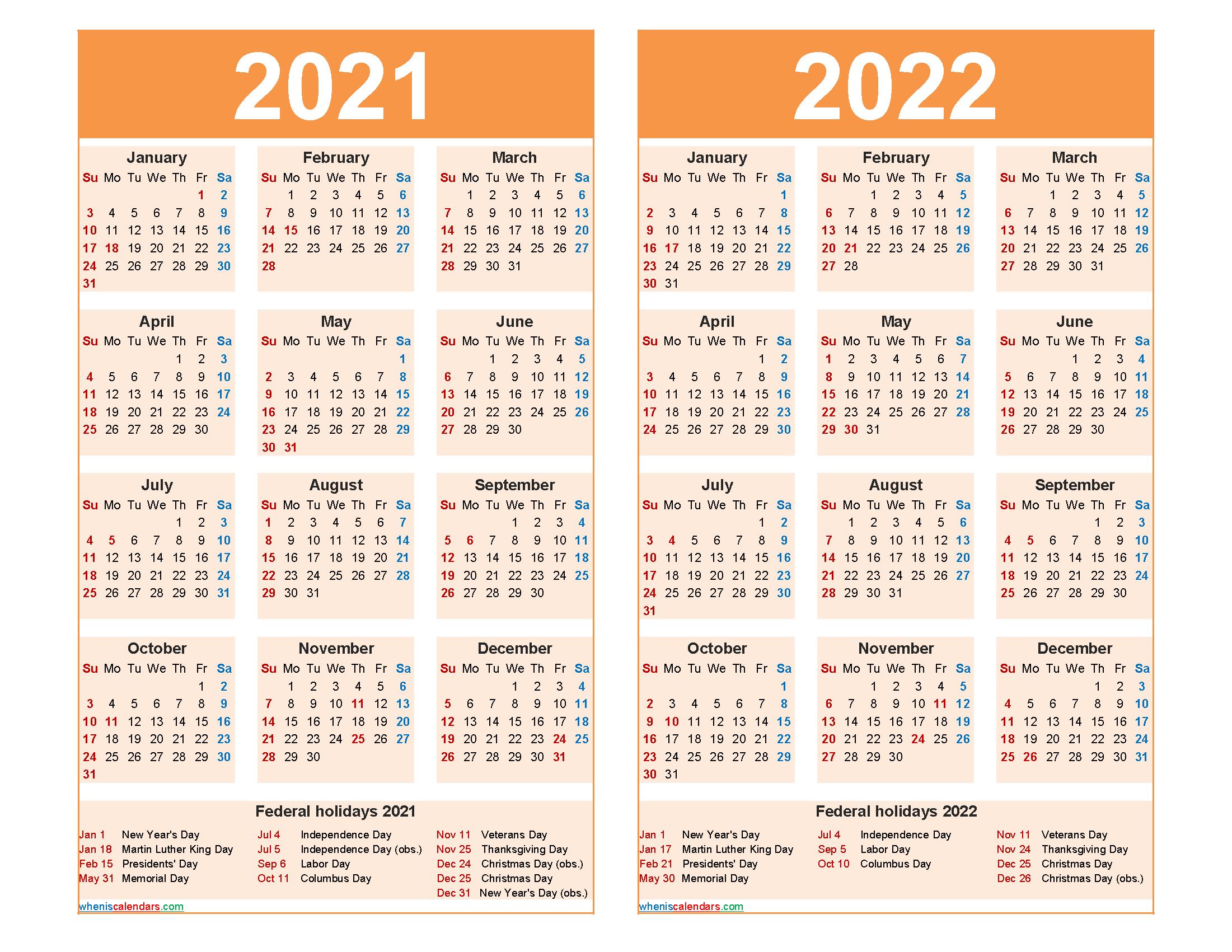 2021 2022 Calendar Printable with Holidays - Free ...