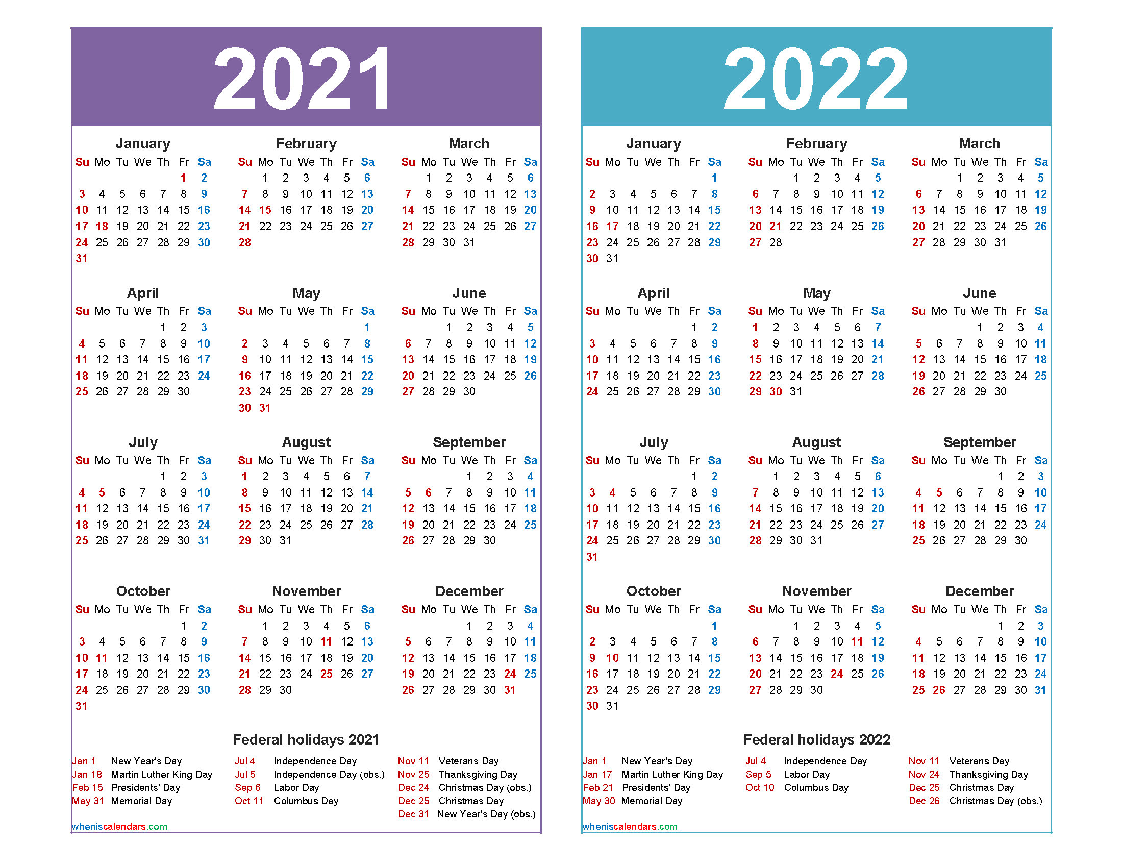 2021 and 2022 Calendar Printable with Holidays