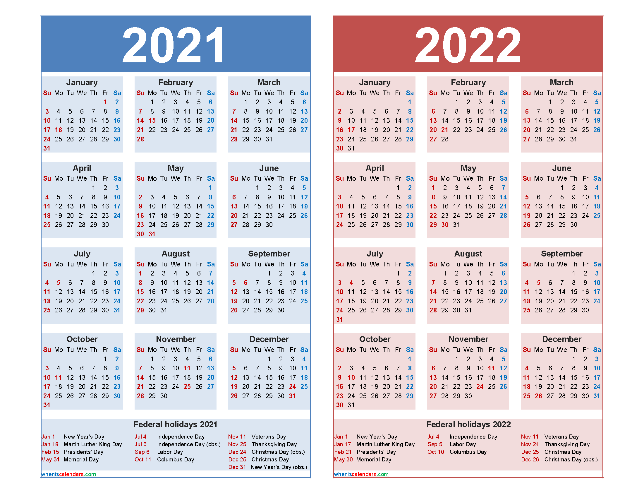 Free 2021 and 2022 Calendar Printable with Holidays