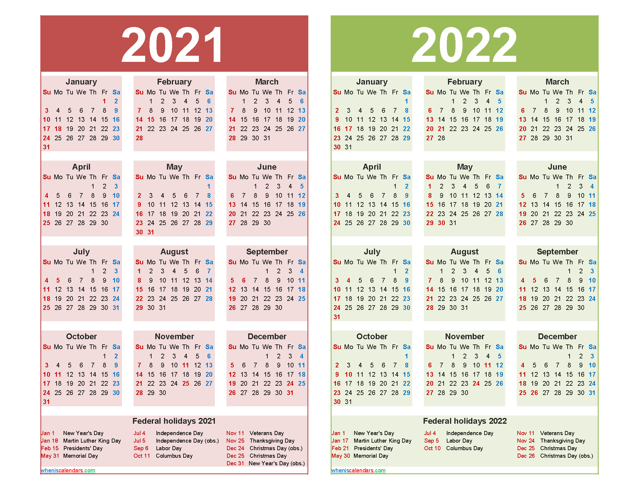 2021 and 2022 Calendar Printable with Holidays Word, PDF