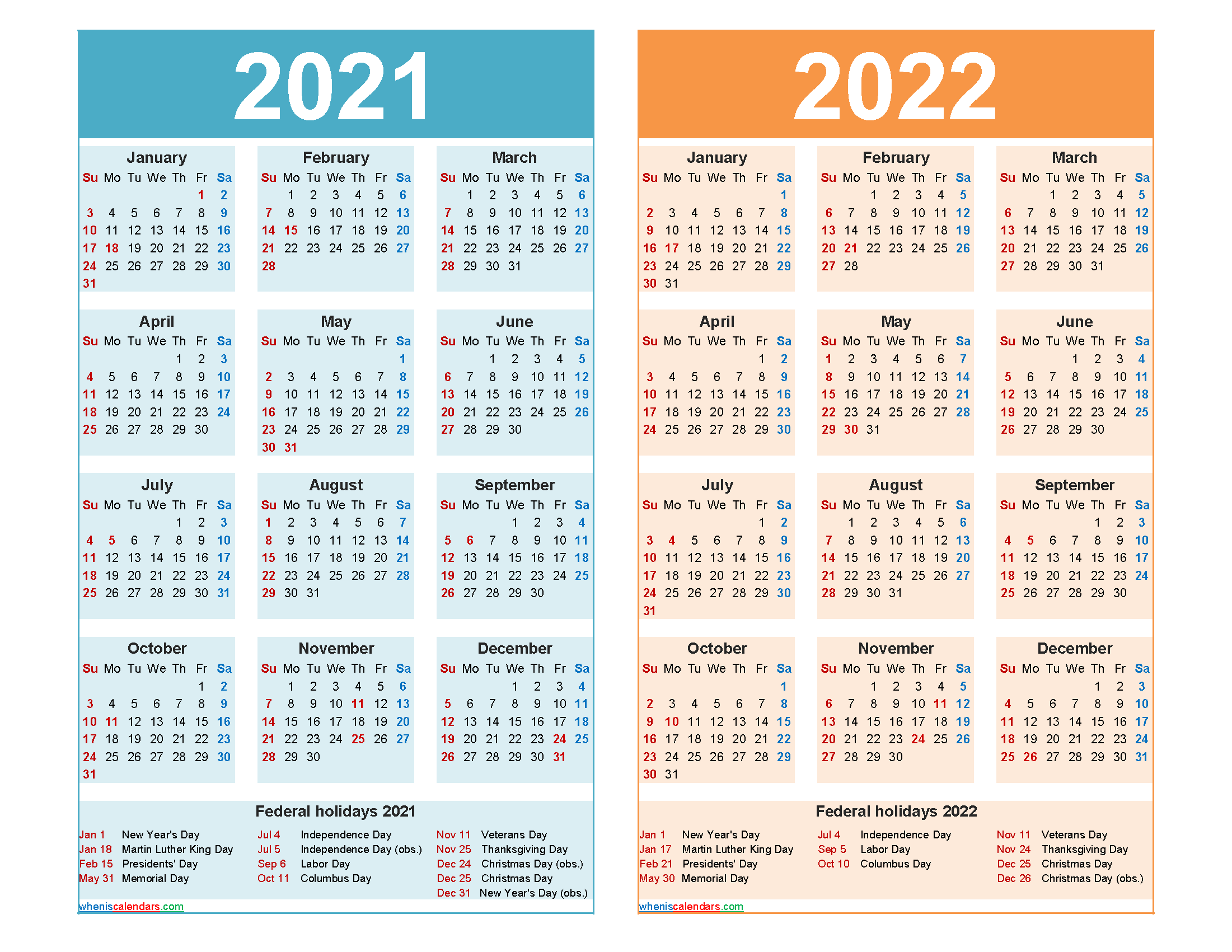 Calendar For 2021-2022 2021 and 2022 Calendar Printable Word, PDF – Free Printable 2020