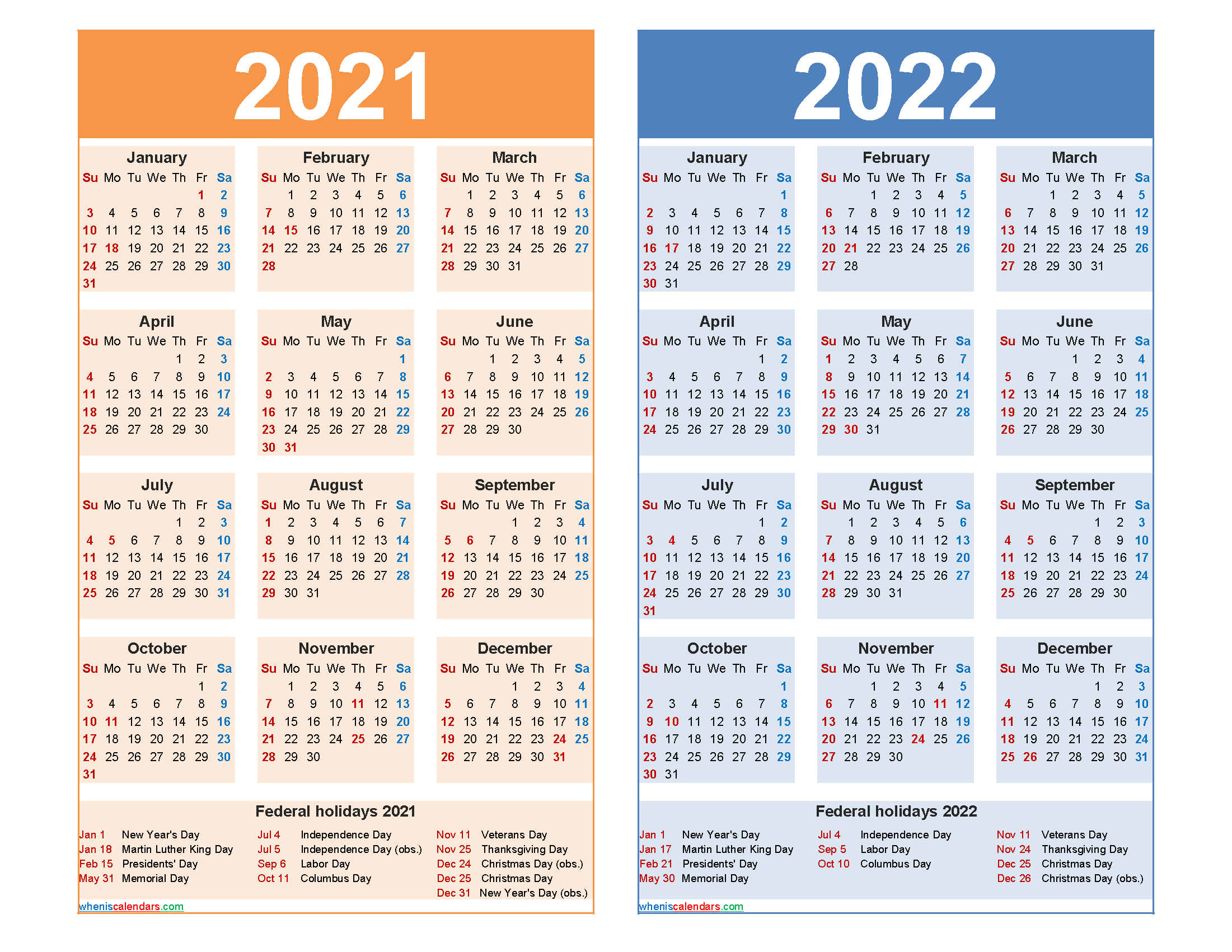 Free 2021 and 2022 Calendar Printable Word, PDF | Free ...