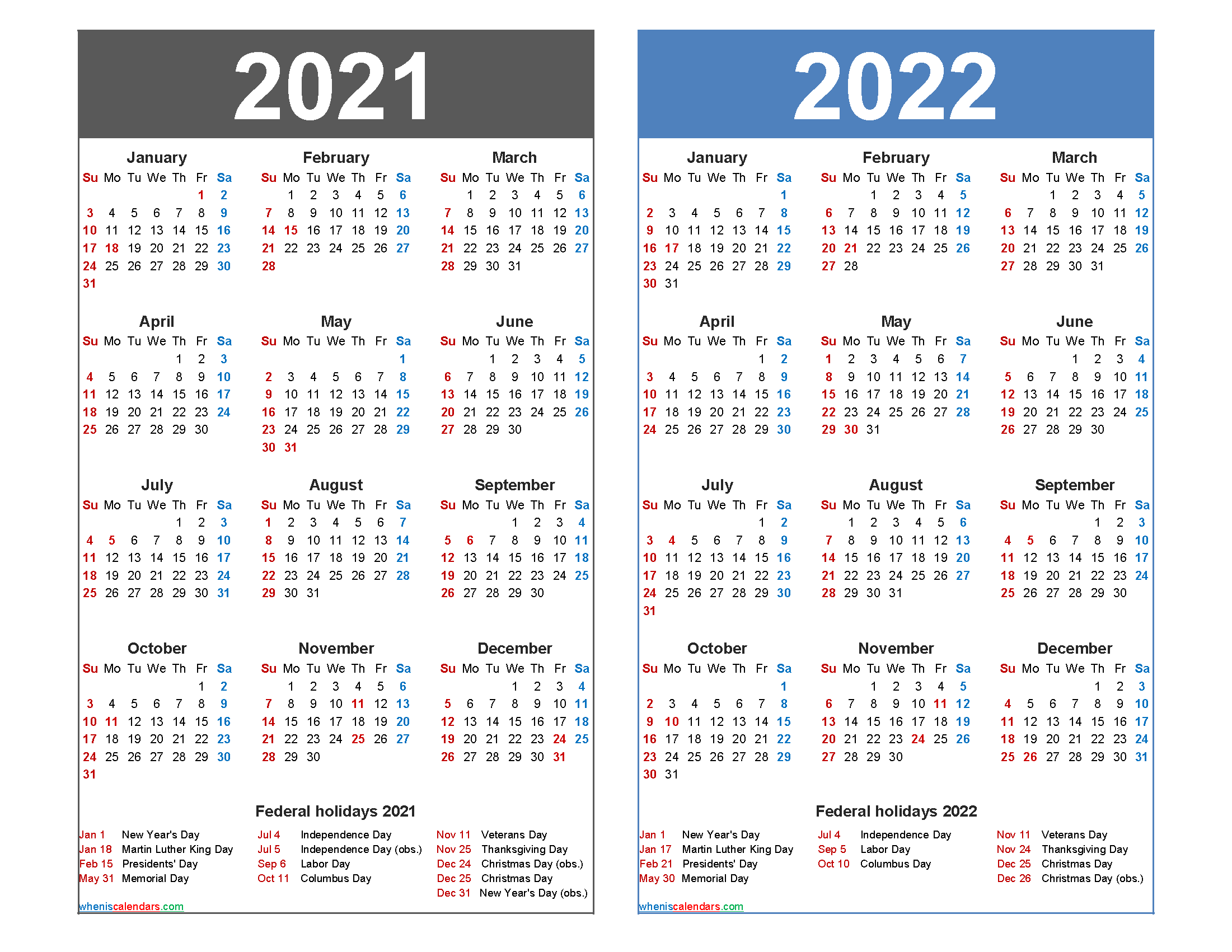 Calendar For 2021-2022 2021 and 2022 Calendar Printable with Holidays – Free Printable