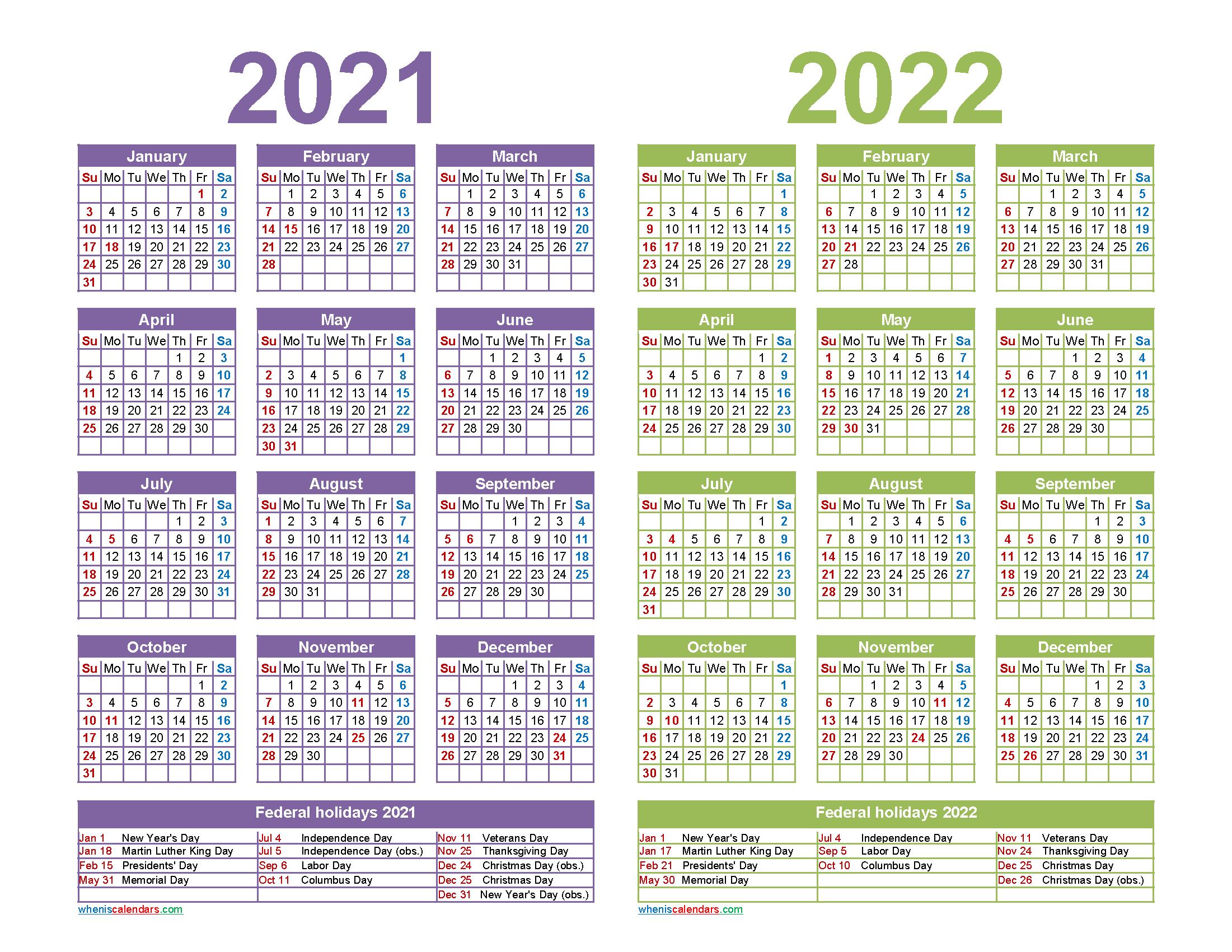 2021 2022 Calendar Printable with Holidays   Free ...