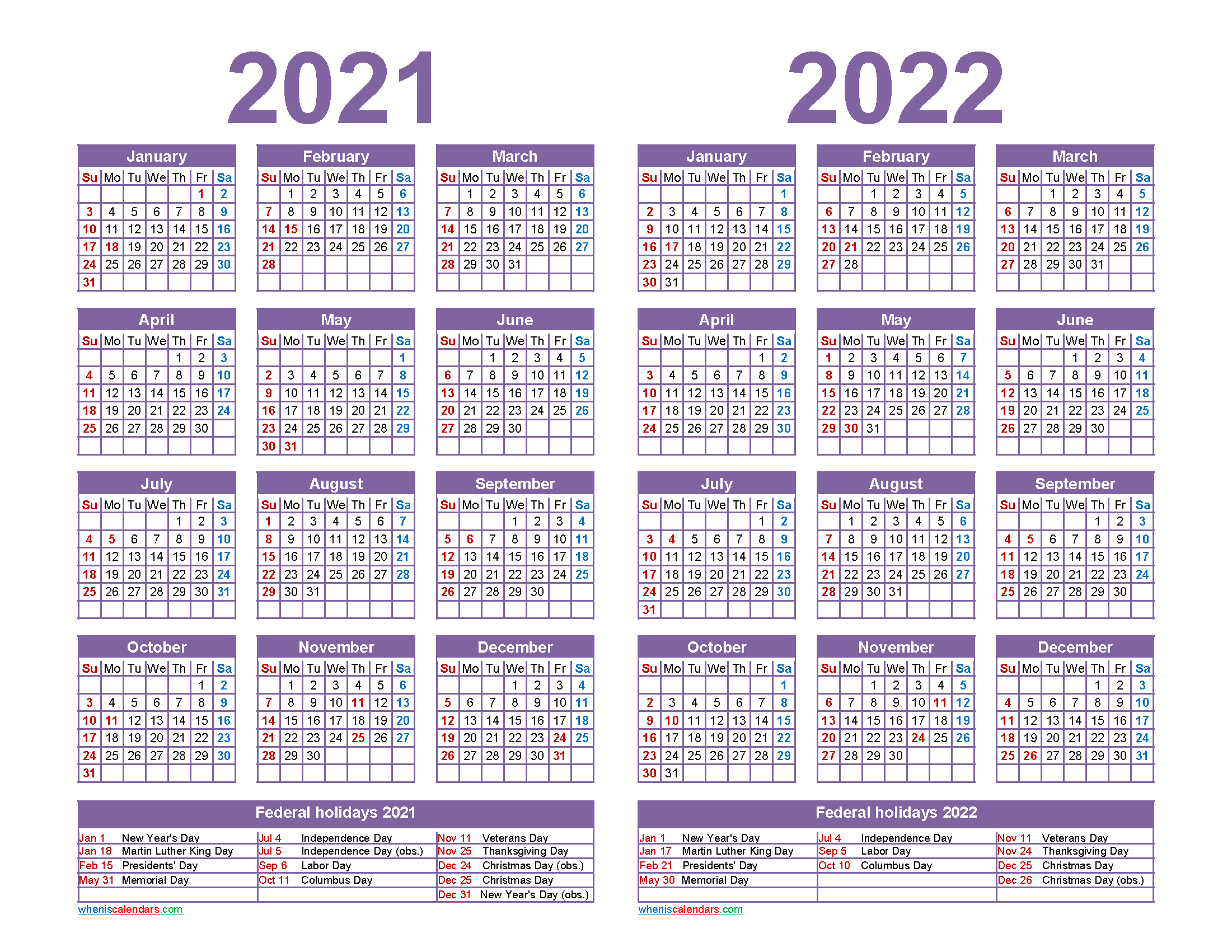 Free 2021 2022 Calendar Printable with Holidays | Free ...