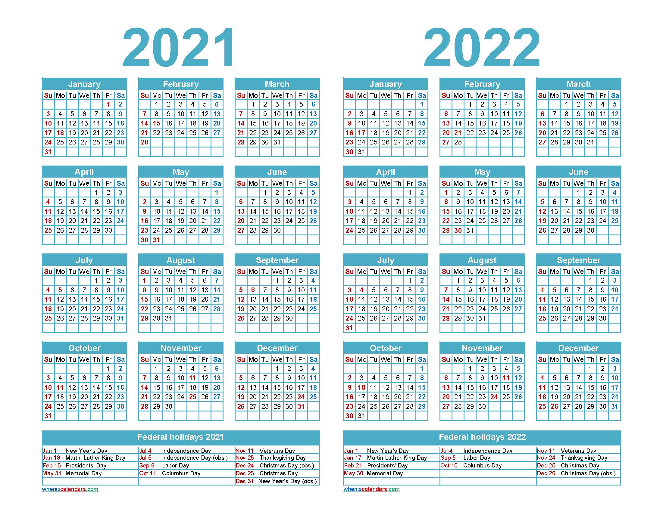 Free 2021 and 2022 Calendar Printable Word, PDF – Free Printable