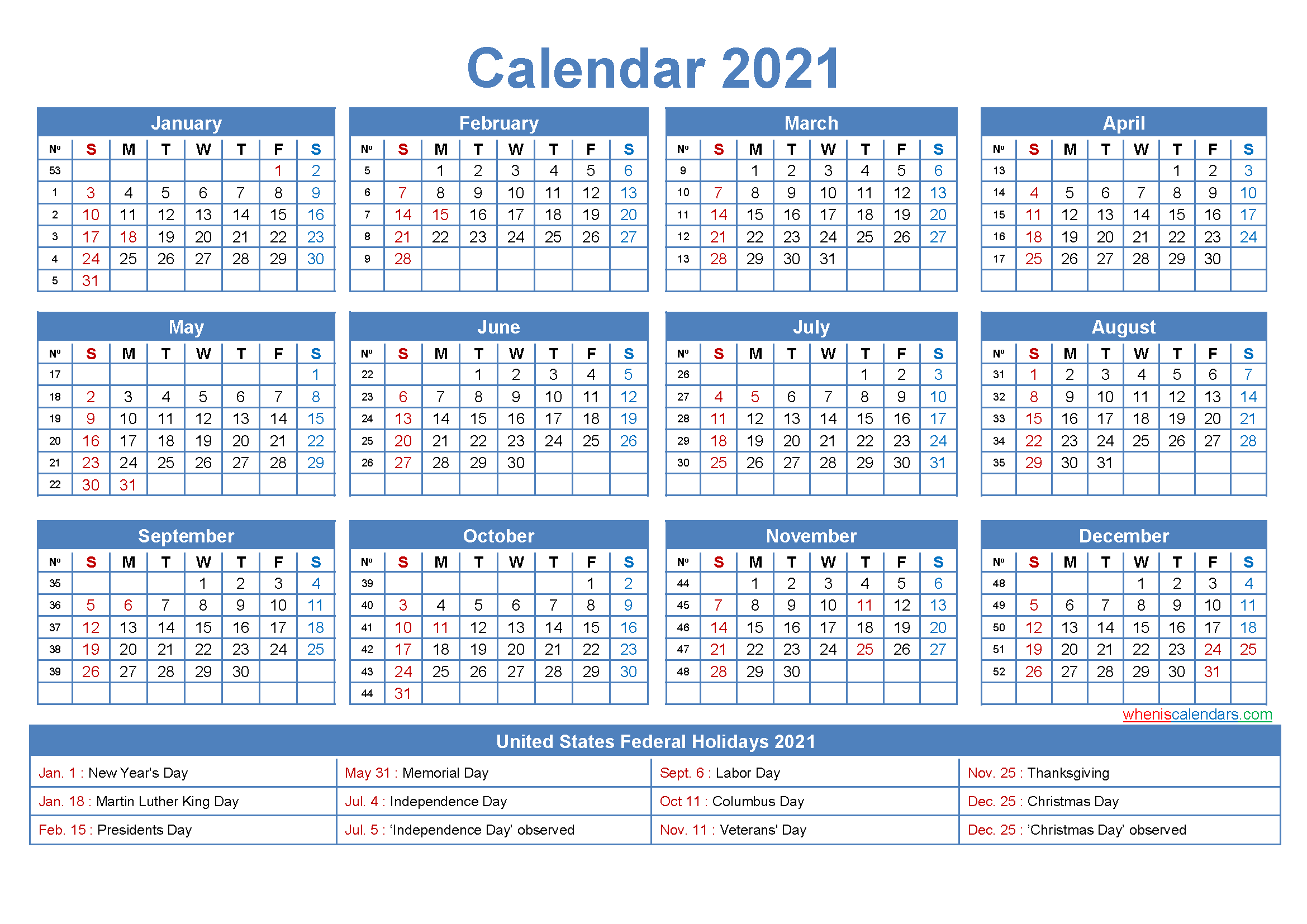 Free Printable 2021 Calendar with Holidays as Word, PDF ...