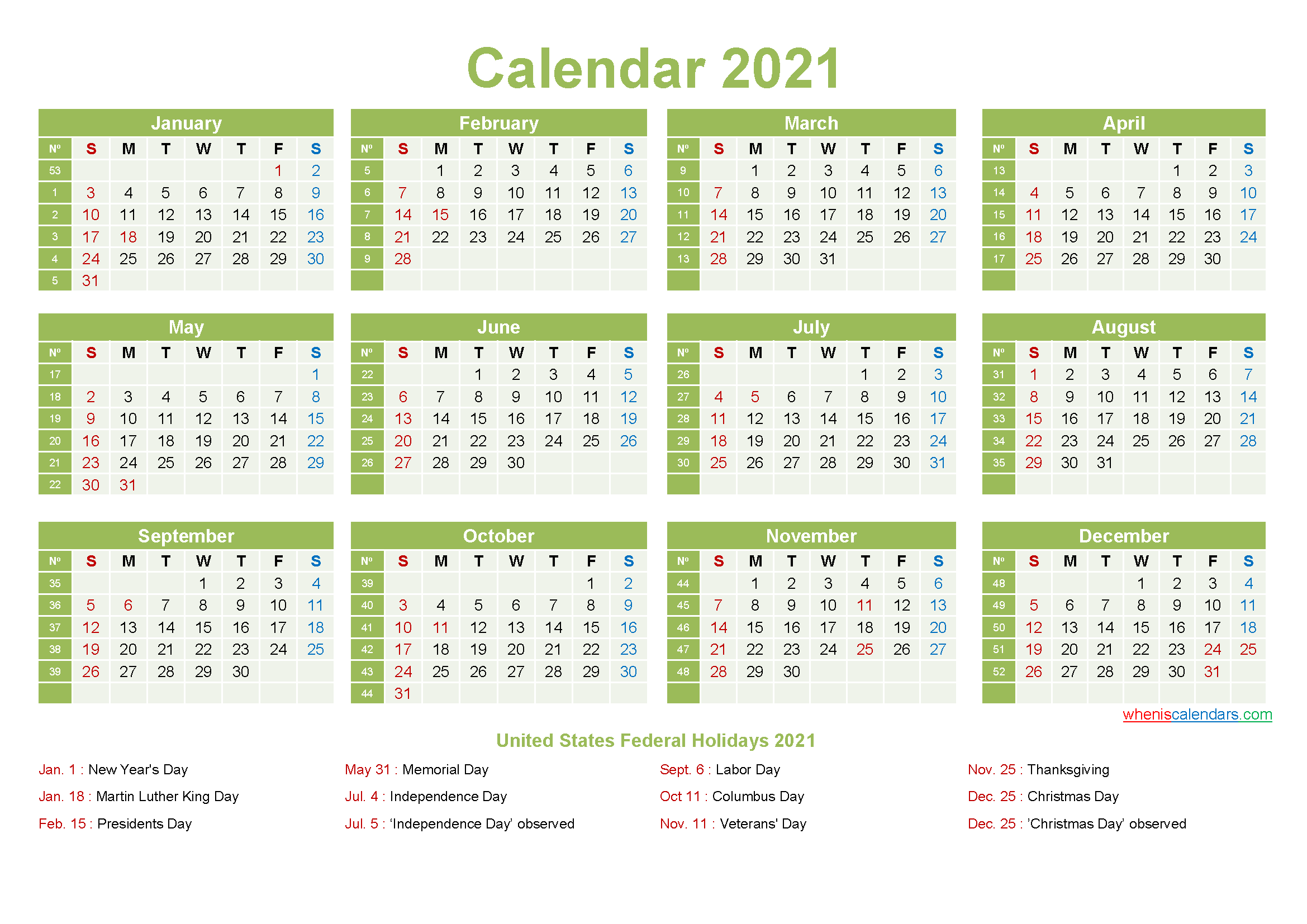 Computer Desktop Calendar 2021 with Holidays