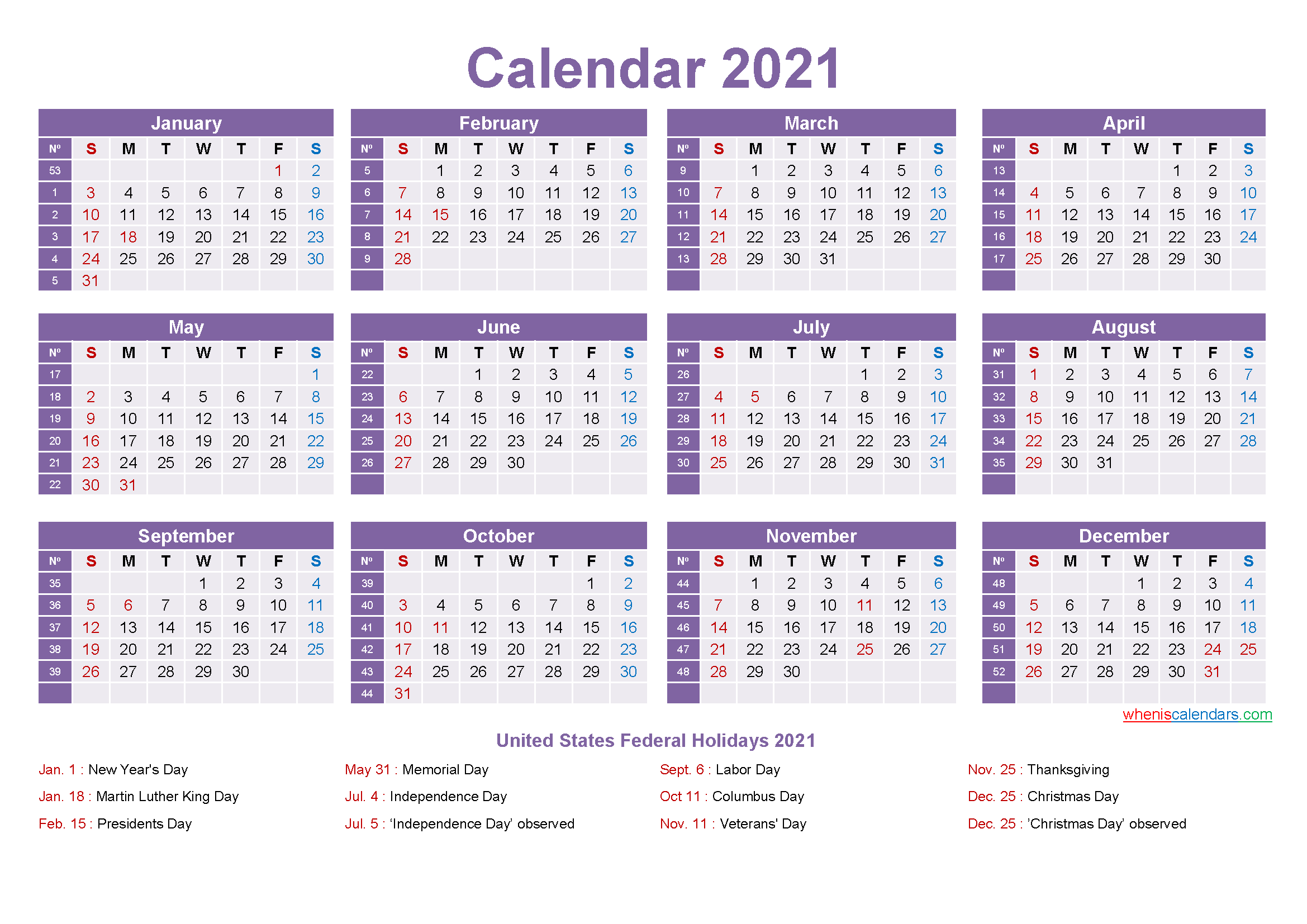 Mini Desk Calendar 2021 Free Printable