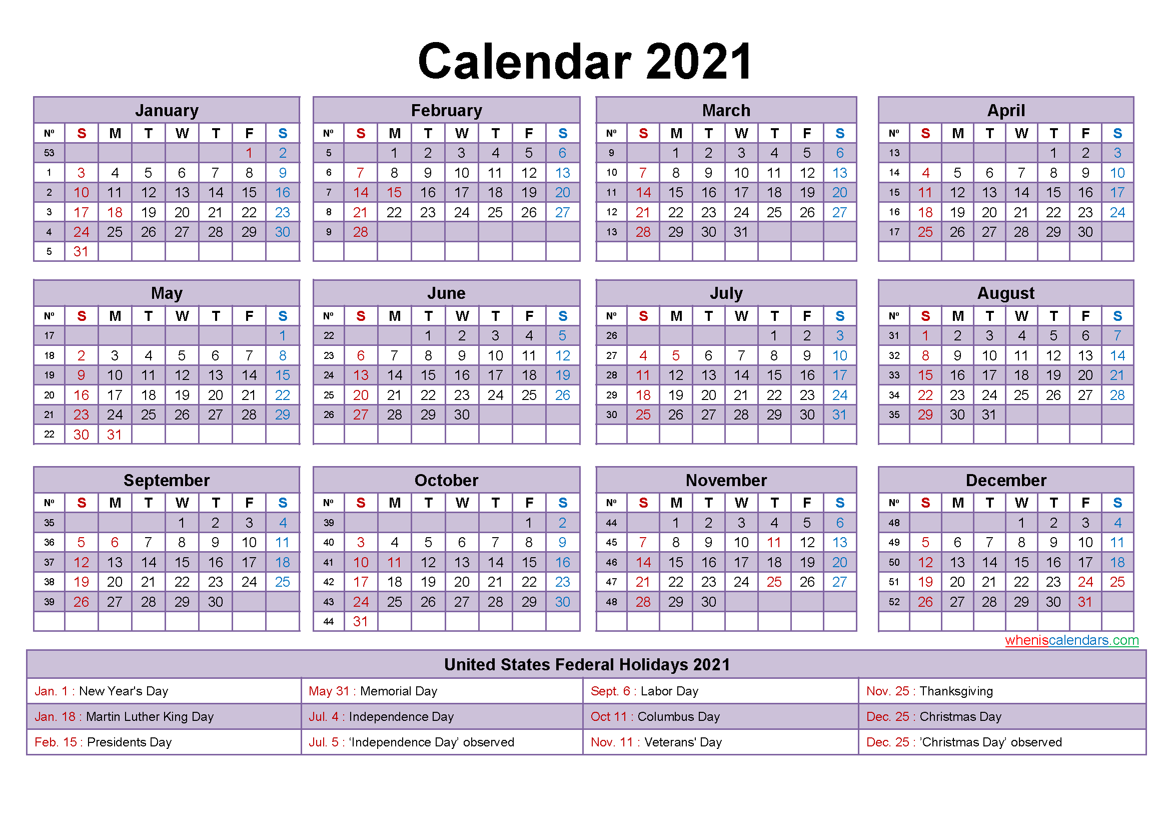 2021 Calendar with Holidays Template Word, PDF