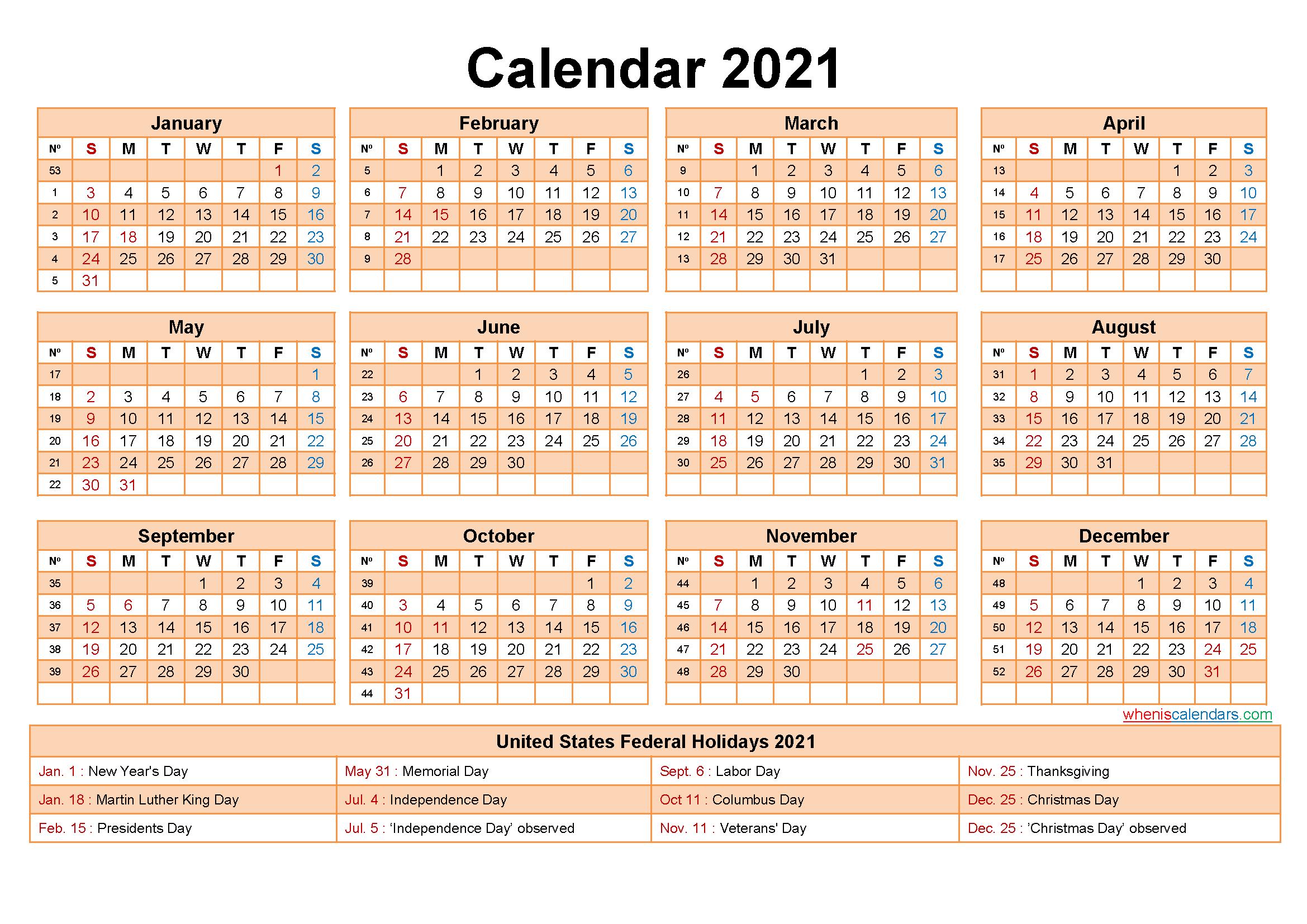 Printable Editable Calendar 2021