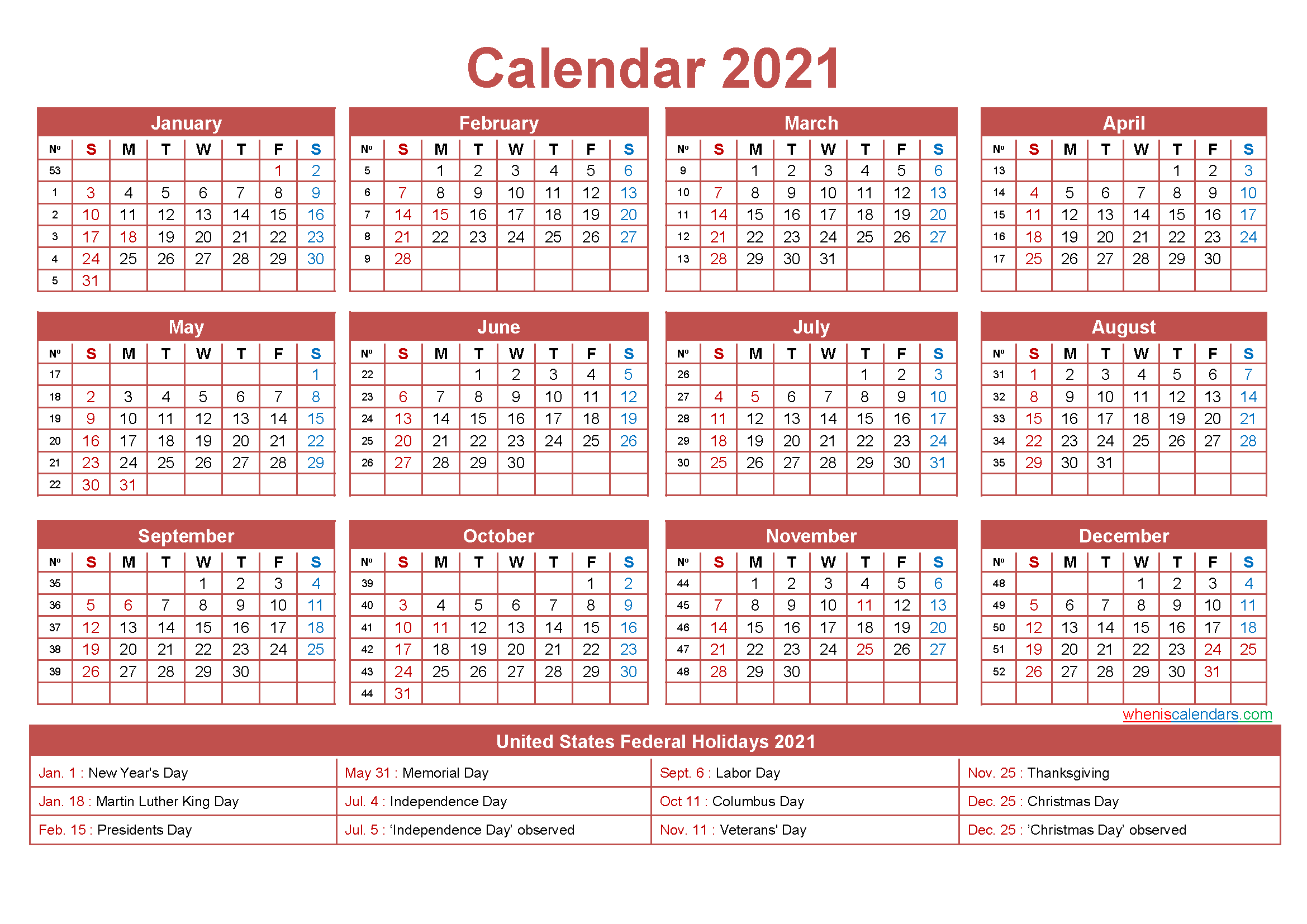 Free Printable Yearly 2021 Calendar with Holidays as Word ...
