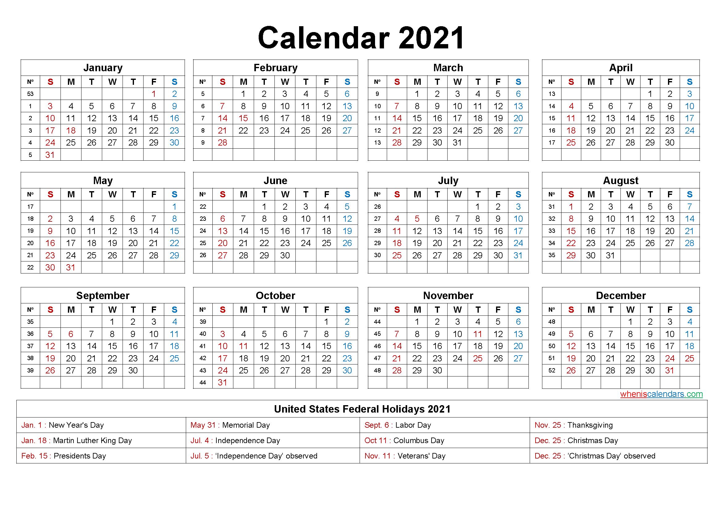 Editable Calendar Template 2021