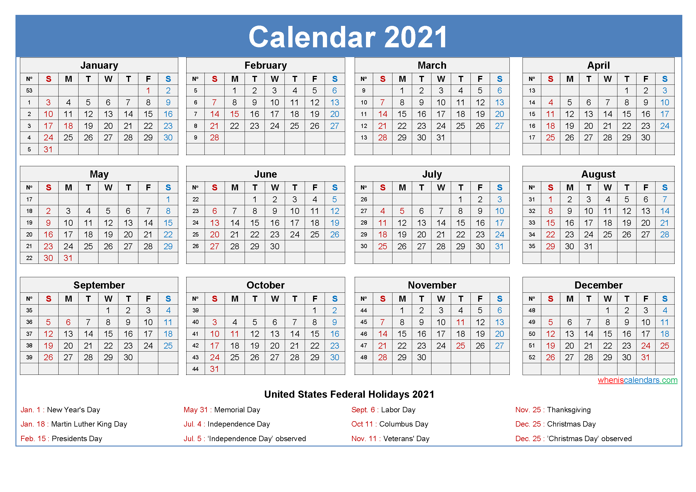 Large Desk Calendar 2021 with Holidays